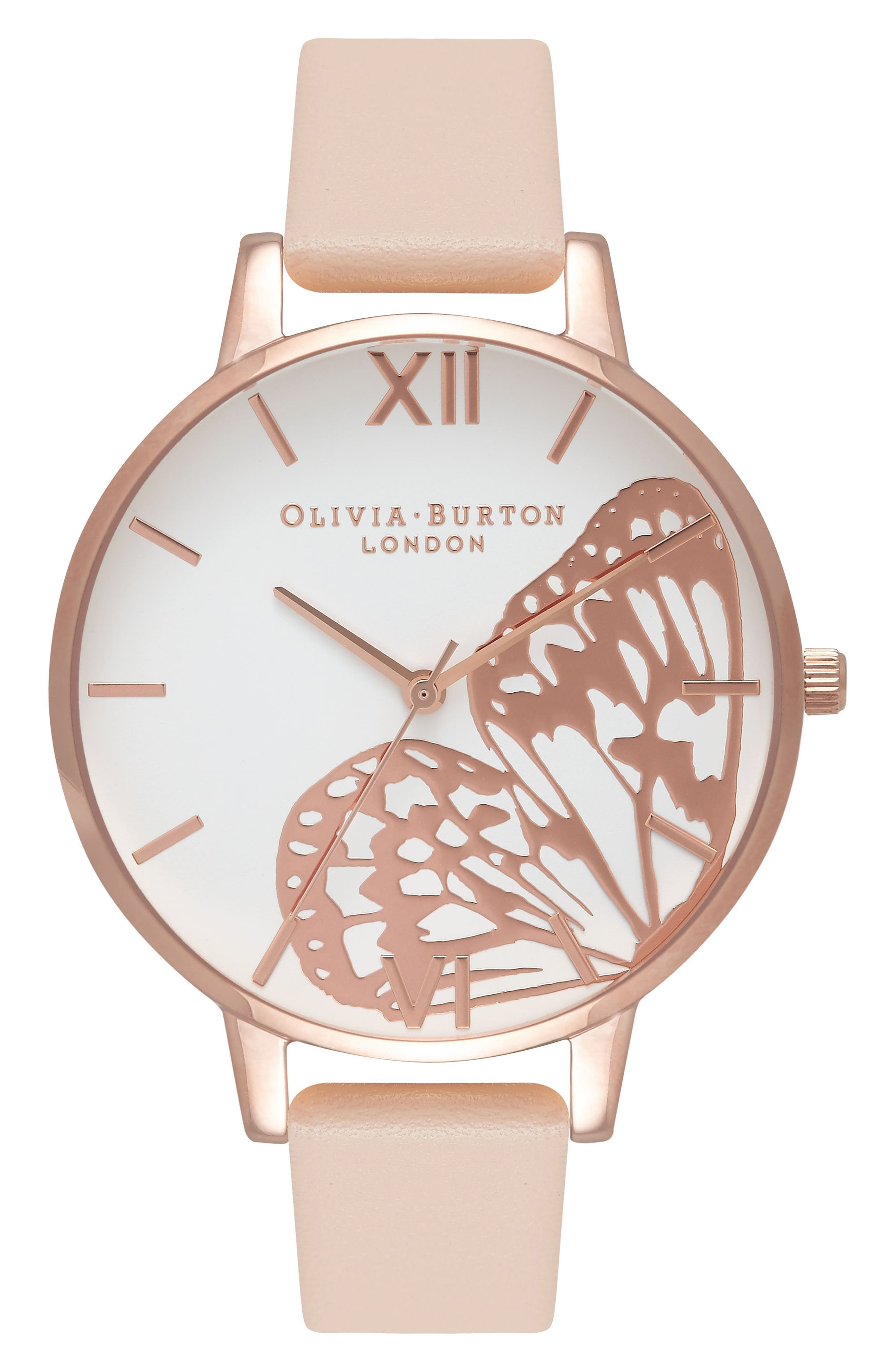 Main Image - Olivia Burton Butterfly Wing Leather Strap Watch, 38mm