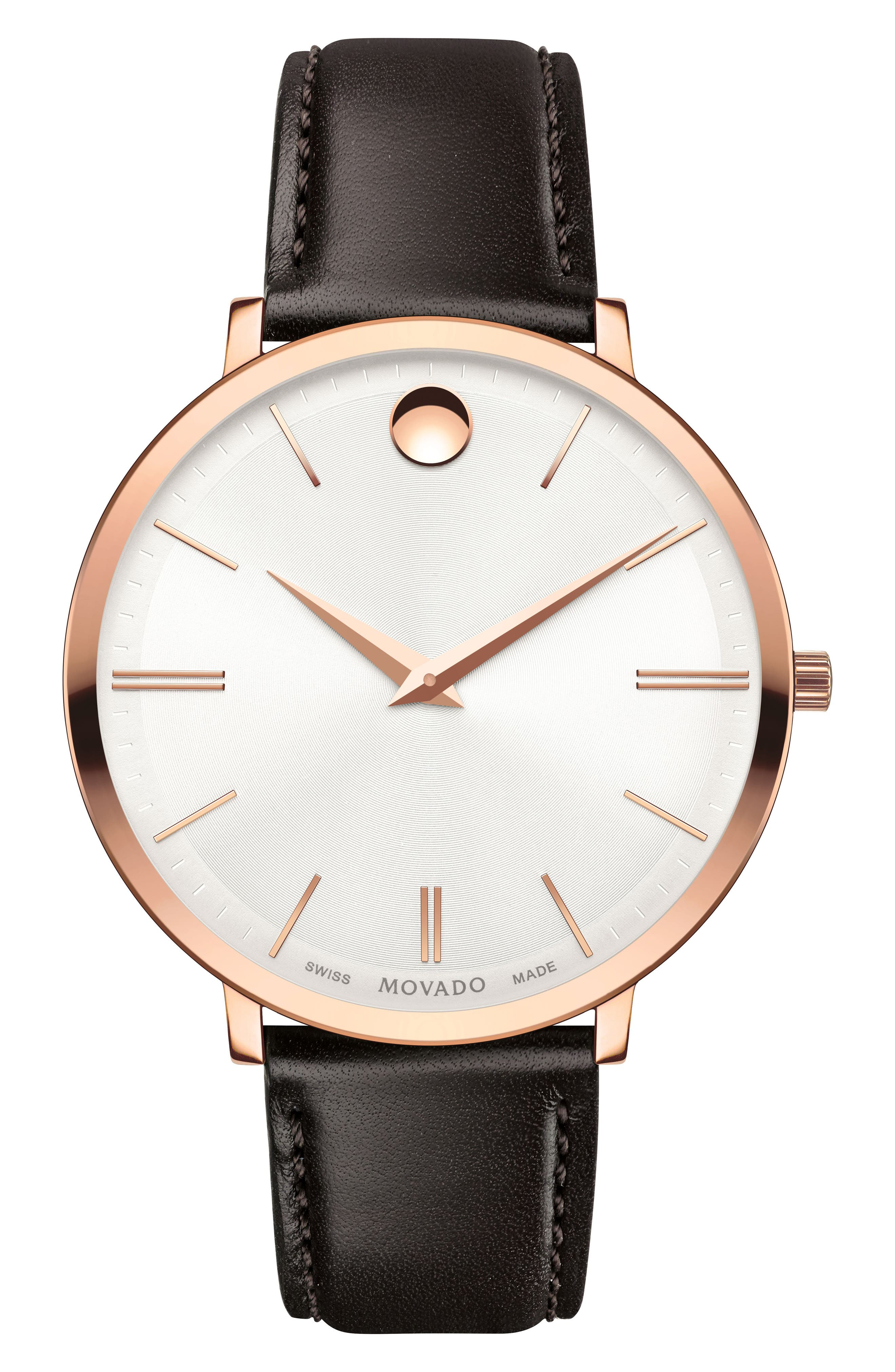 Ultraslim Leather Strap Watch, 35mm,                         Main,                         color, Brown/ White/ Rose Gold