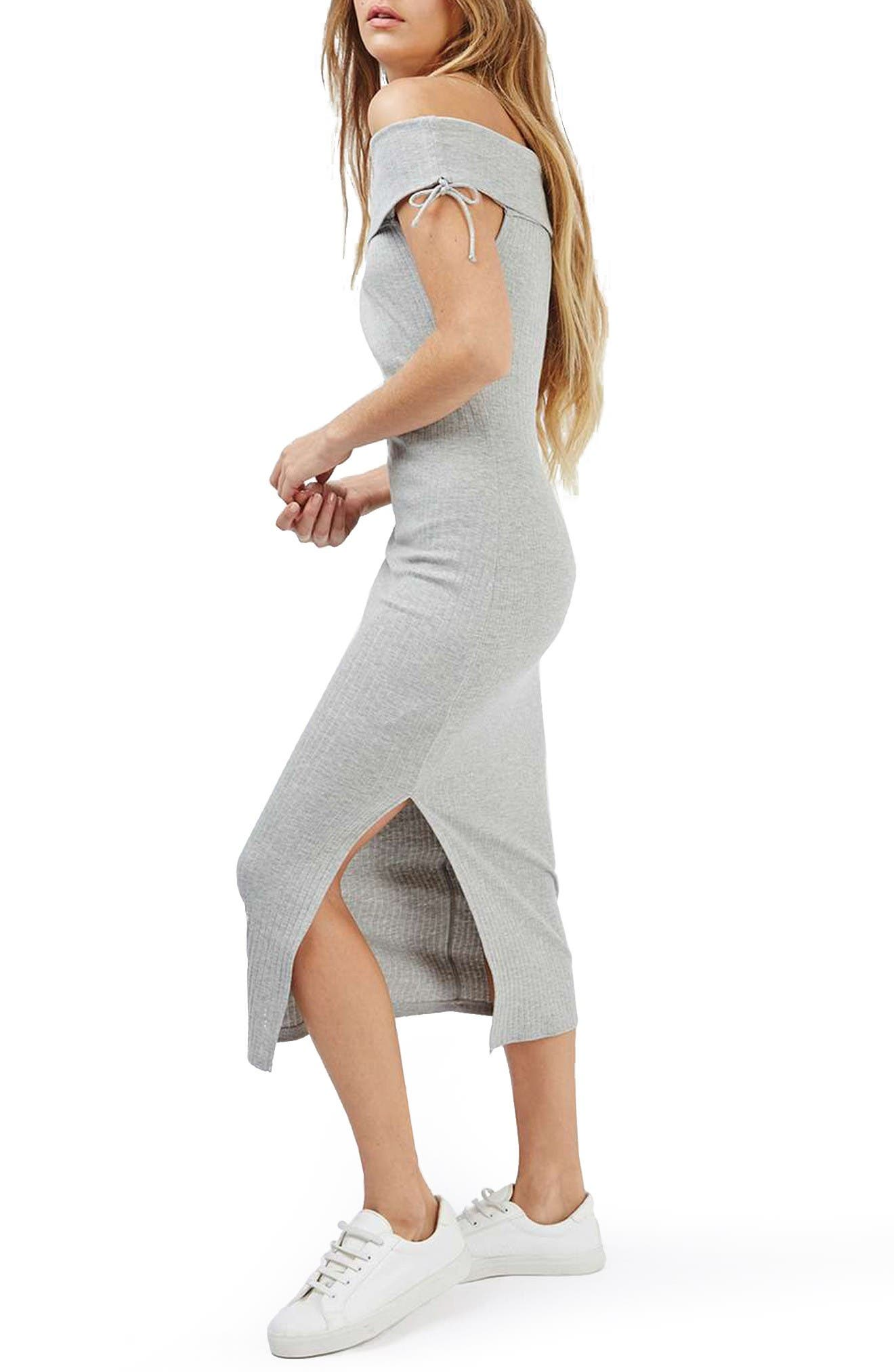 Main Image - Topshop Bardot Ribbed Midi Dress