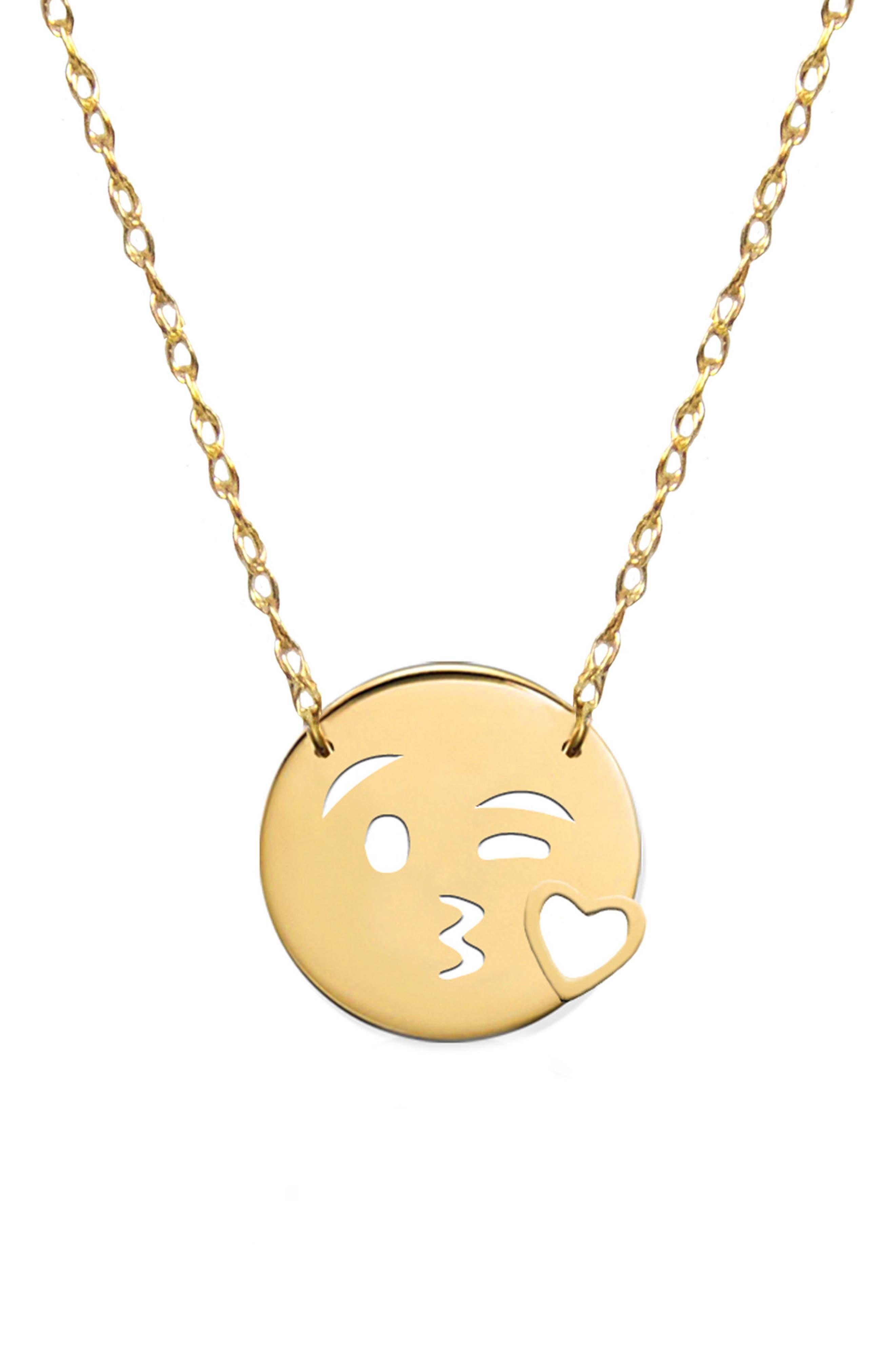 Kiss Love Emoji Pendant Necklace,                         Main,                         color, Yellow Gold