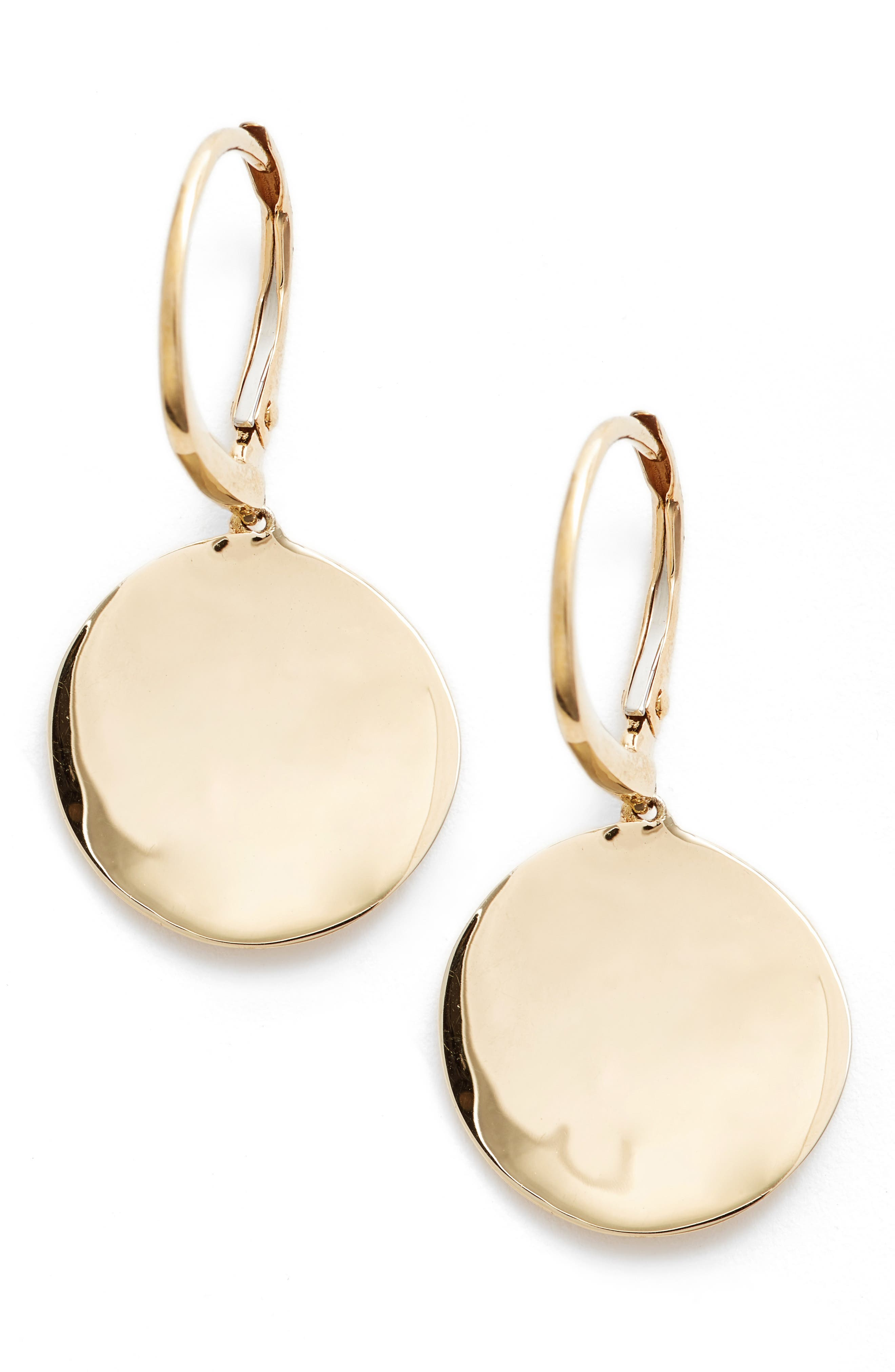 Concave Drop Earrings,                             Main thumbnail 1, color,                             Yellow Gold