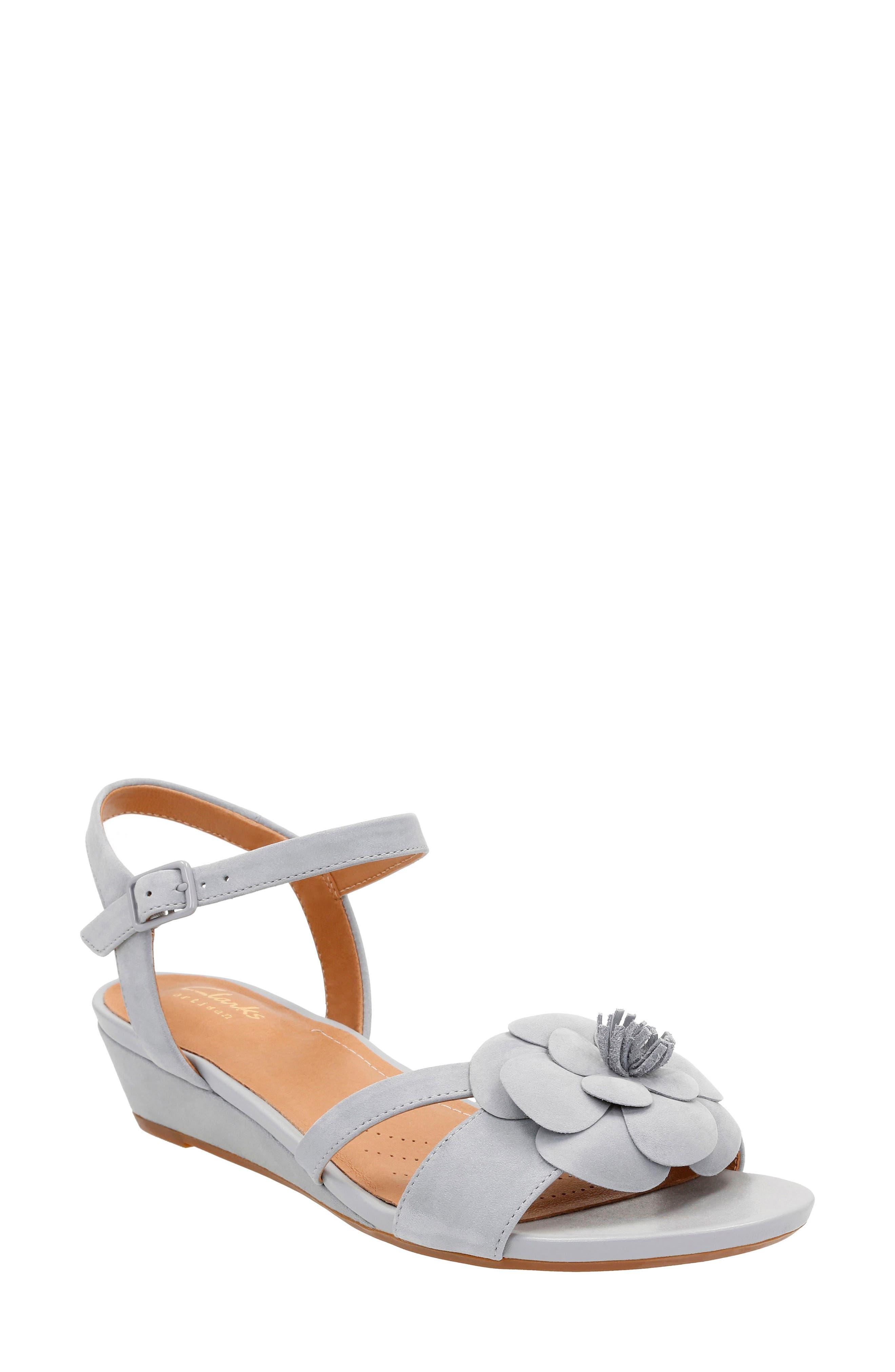 Alternate Image 1 Selected - Clarks® Parram Stella Flower Wedge Sandal (Women)