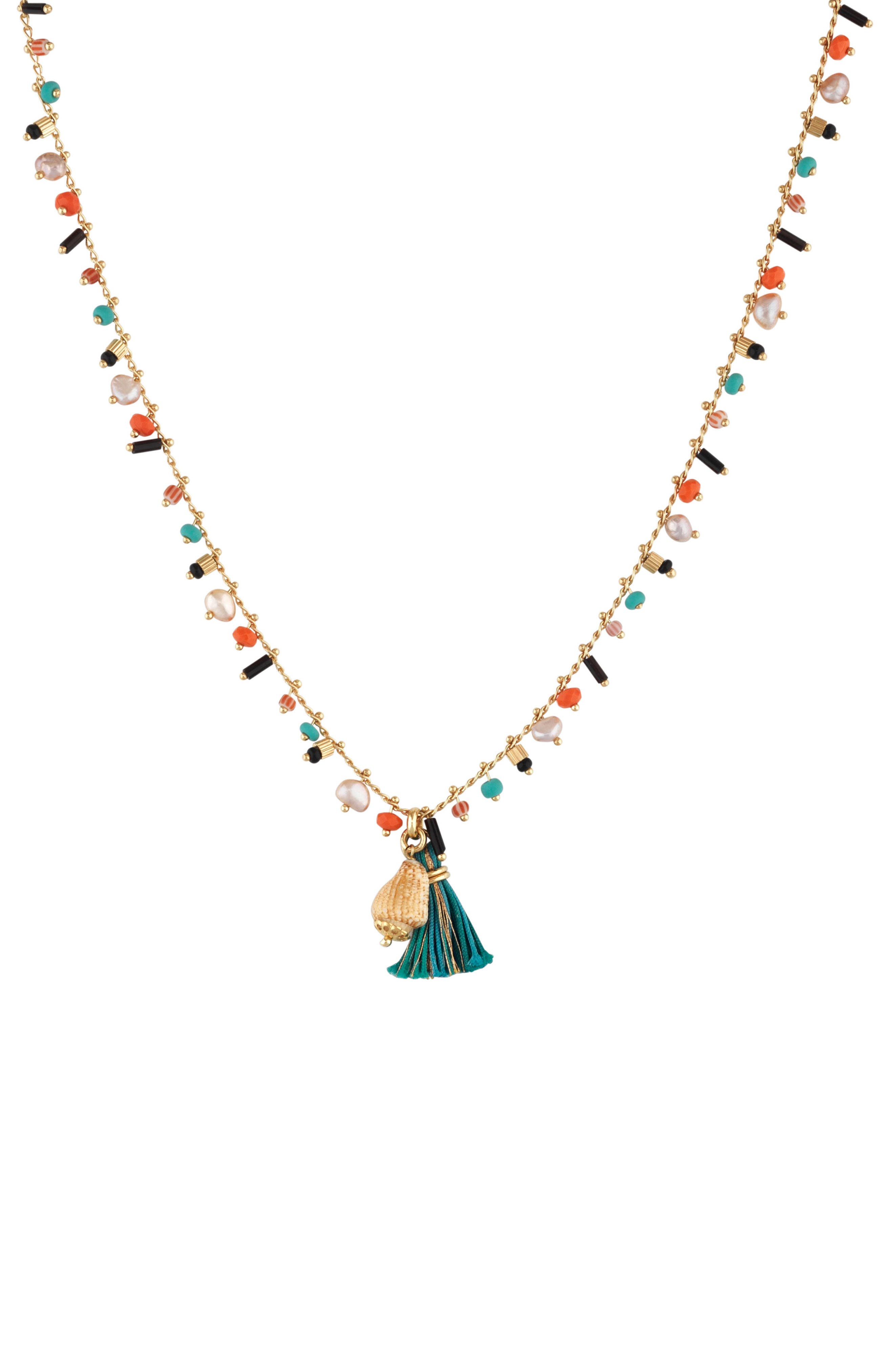 Beaded Tassel Necklace,                         Main,                         color, Multi