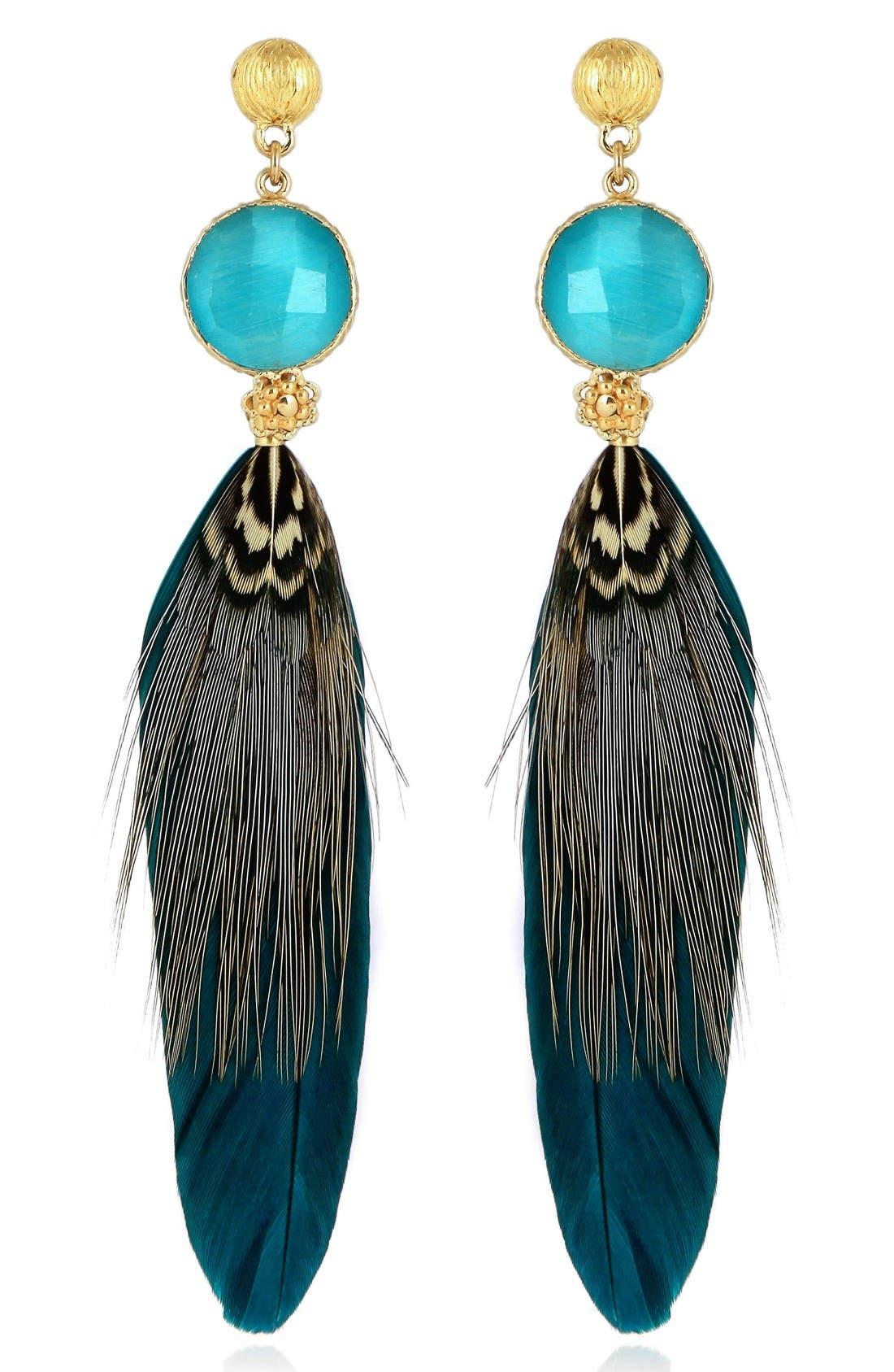 Serti Feather Drop Earrings,                         Main,                         color, Blue/ Grey