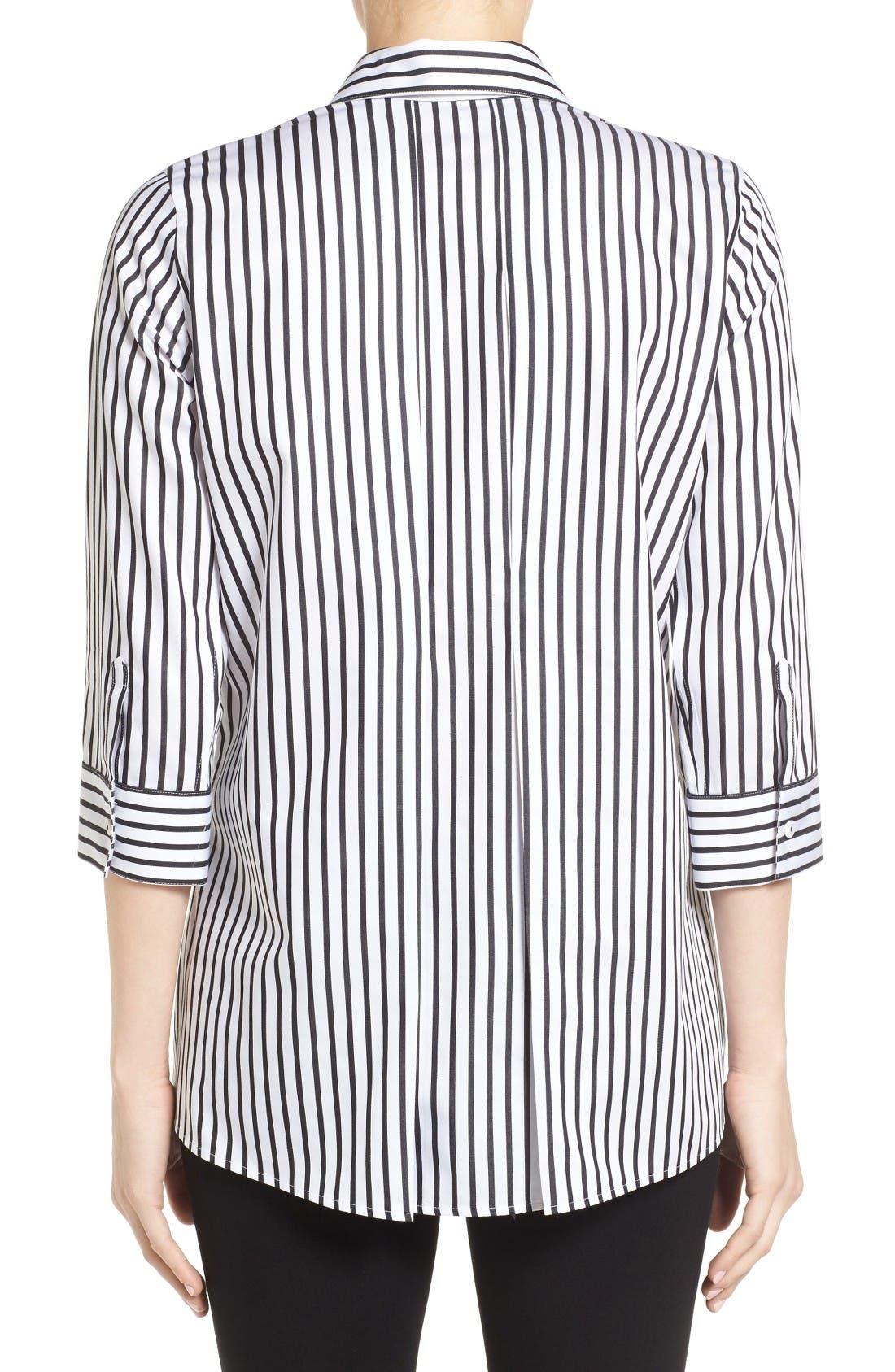 Alternate Image 2  - Foxcroft Gigi Non-Iron Stripe Sateen Tunic Shirt