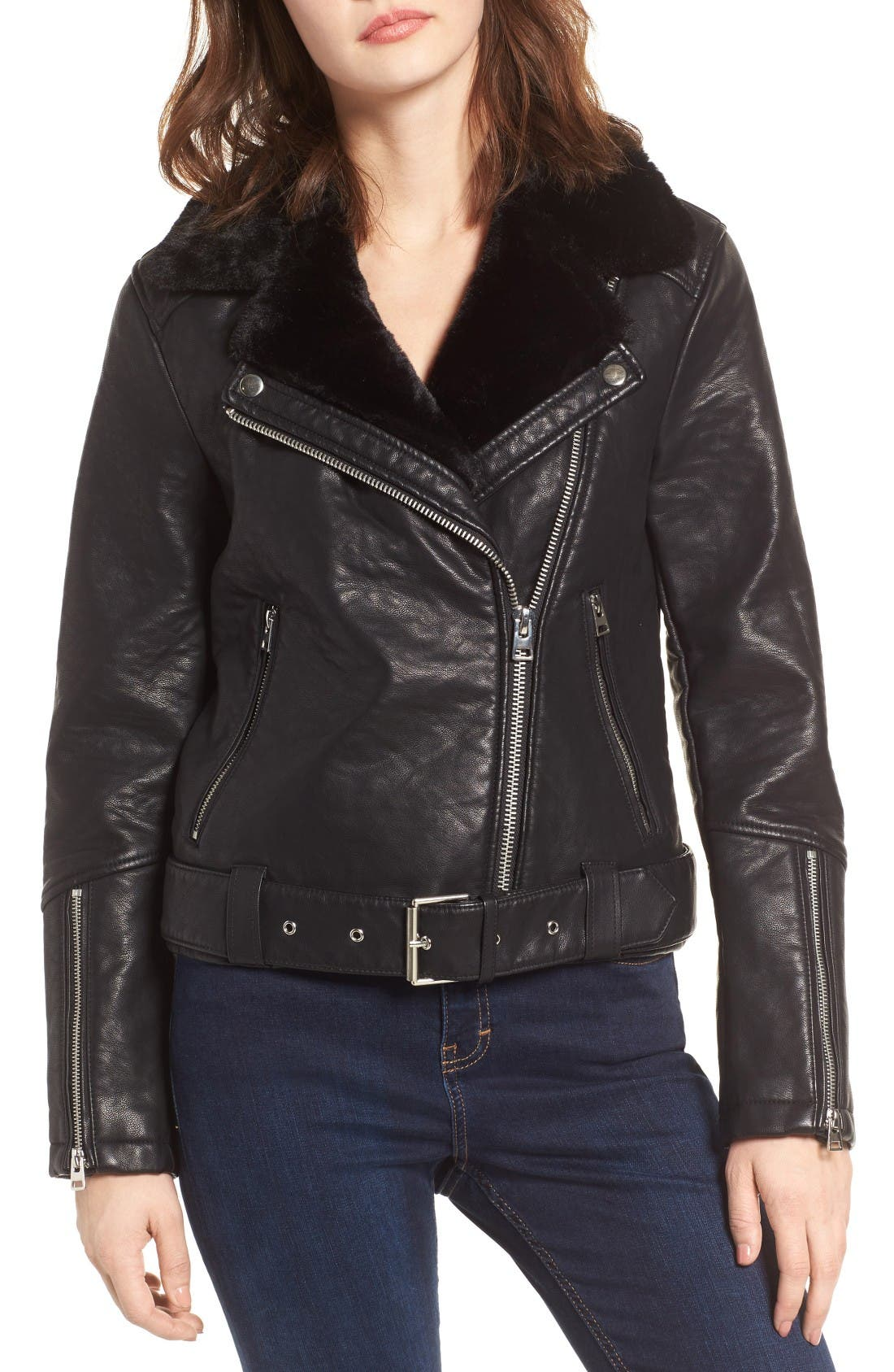 Alternate Image 5  - Topshop Vardy Faux Leather Biker Jacket