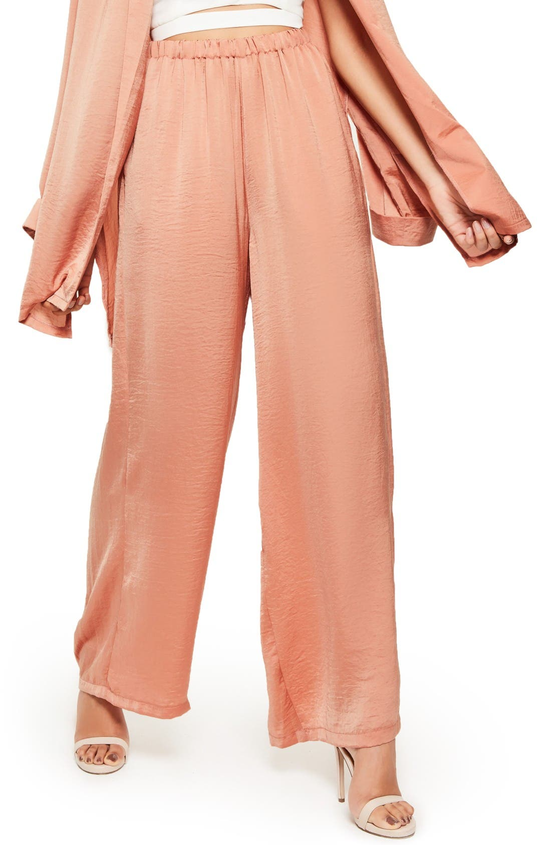 Alternate Image 1 Selected - Missguided Wide Leg Satin Pants
