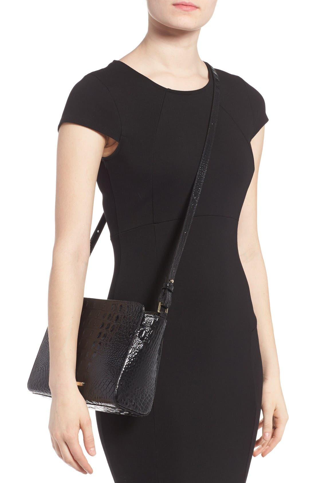 Melbourne Carrie Leather Crossbody Bag,                             Alternate thumbnail 2, color,                             Black