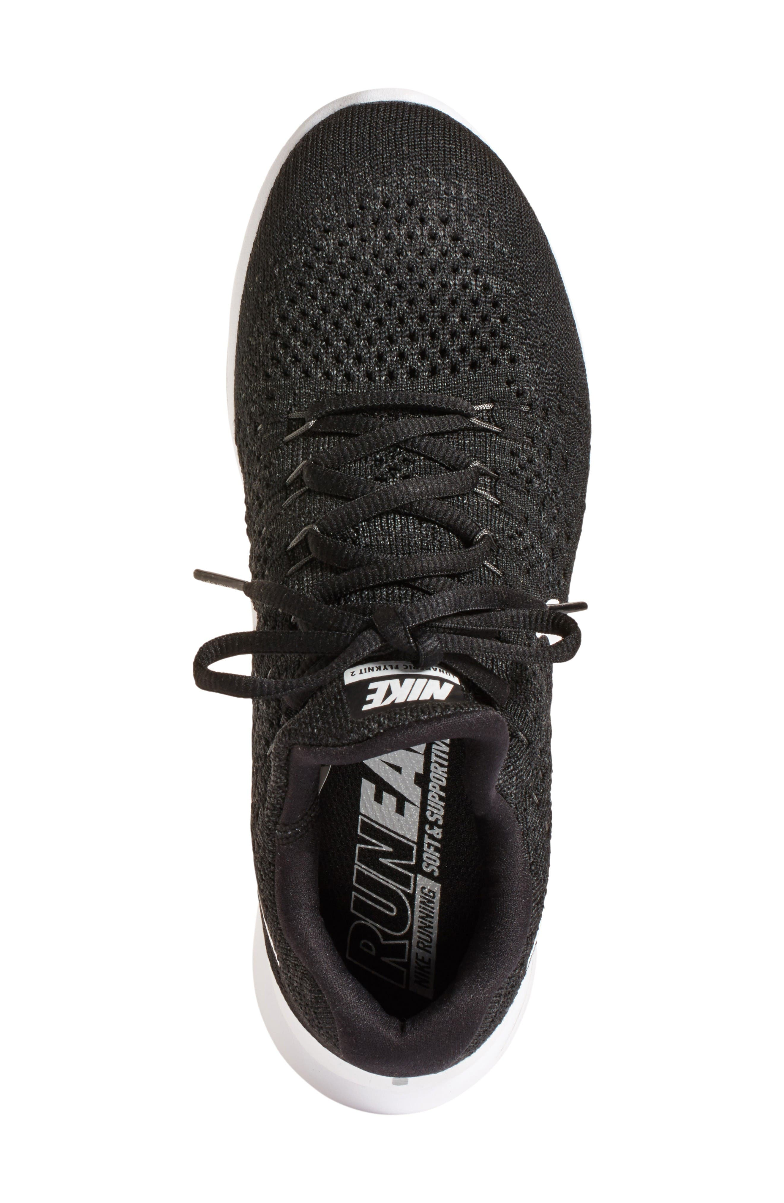 Flyknit 2 LunarEpic Running Shoe,                             Alternate thumbnail 3, color,                             Black/ White/ Anthracite