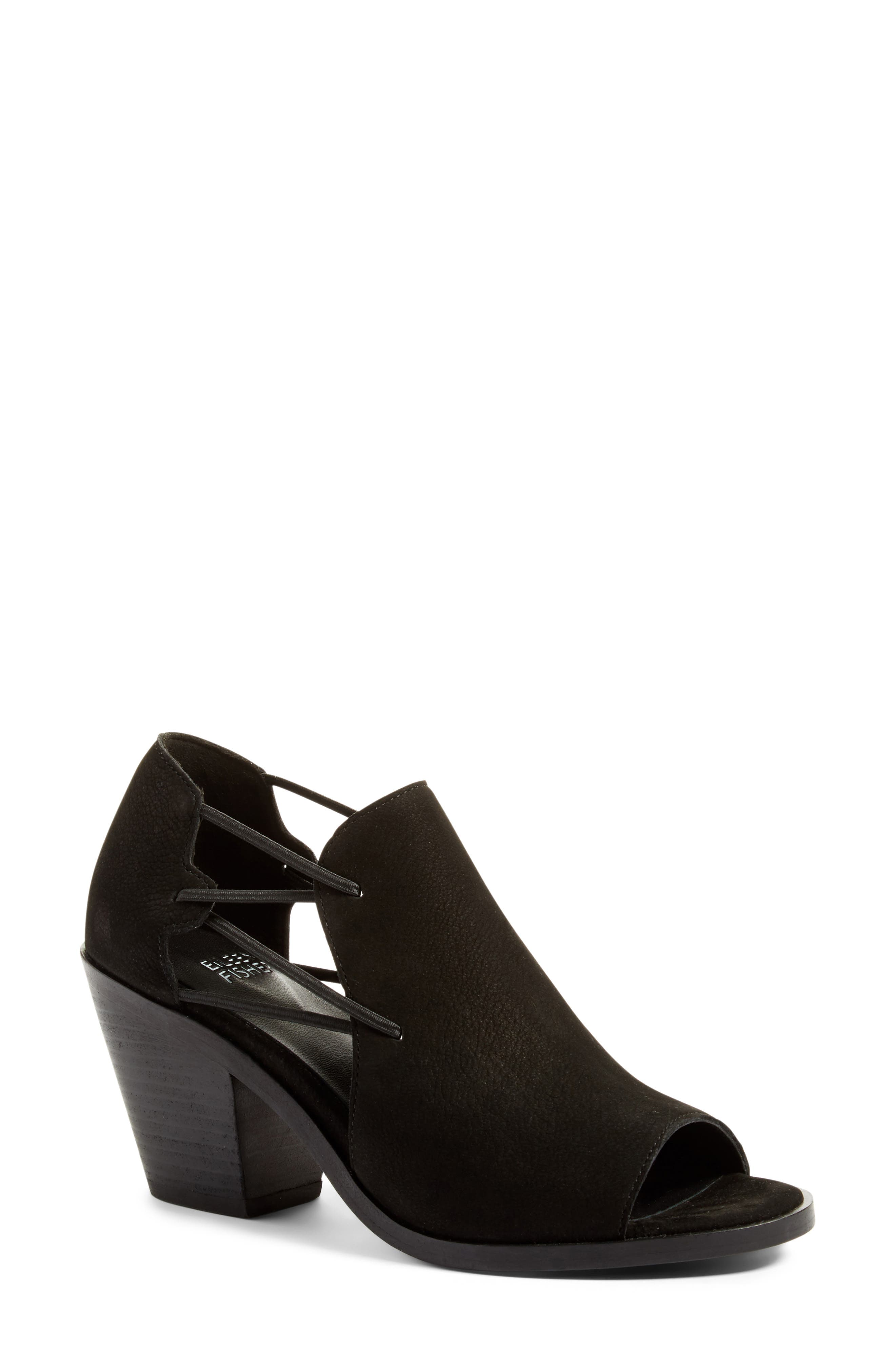 Nikki Peep Toe Sandal,                             Main thumbnail 1, color,                             Black Leather