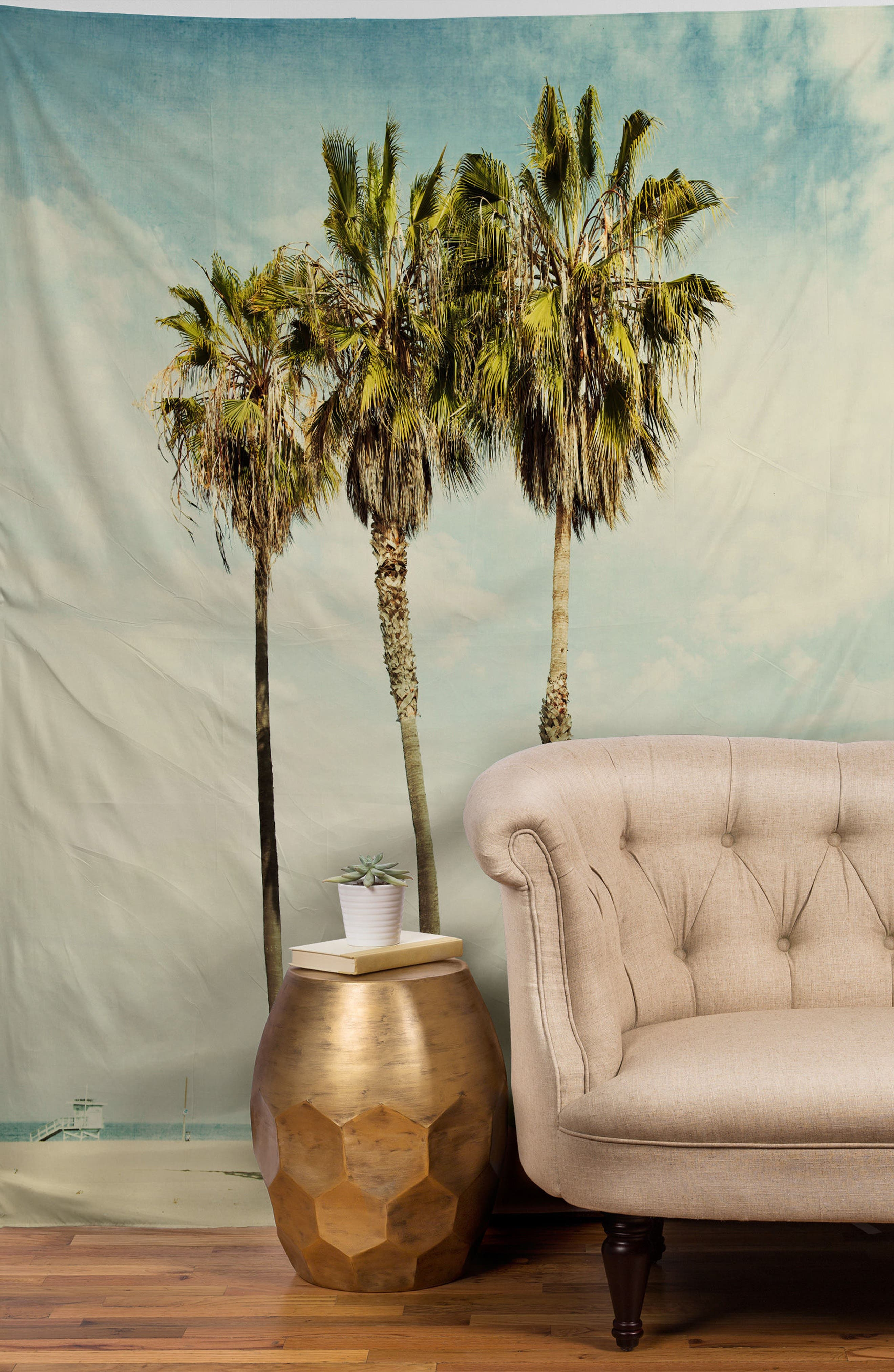 Venice Beach Palms Tapestry,                             Alternate thumbnail 2, color,                             Green/ Multi