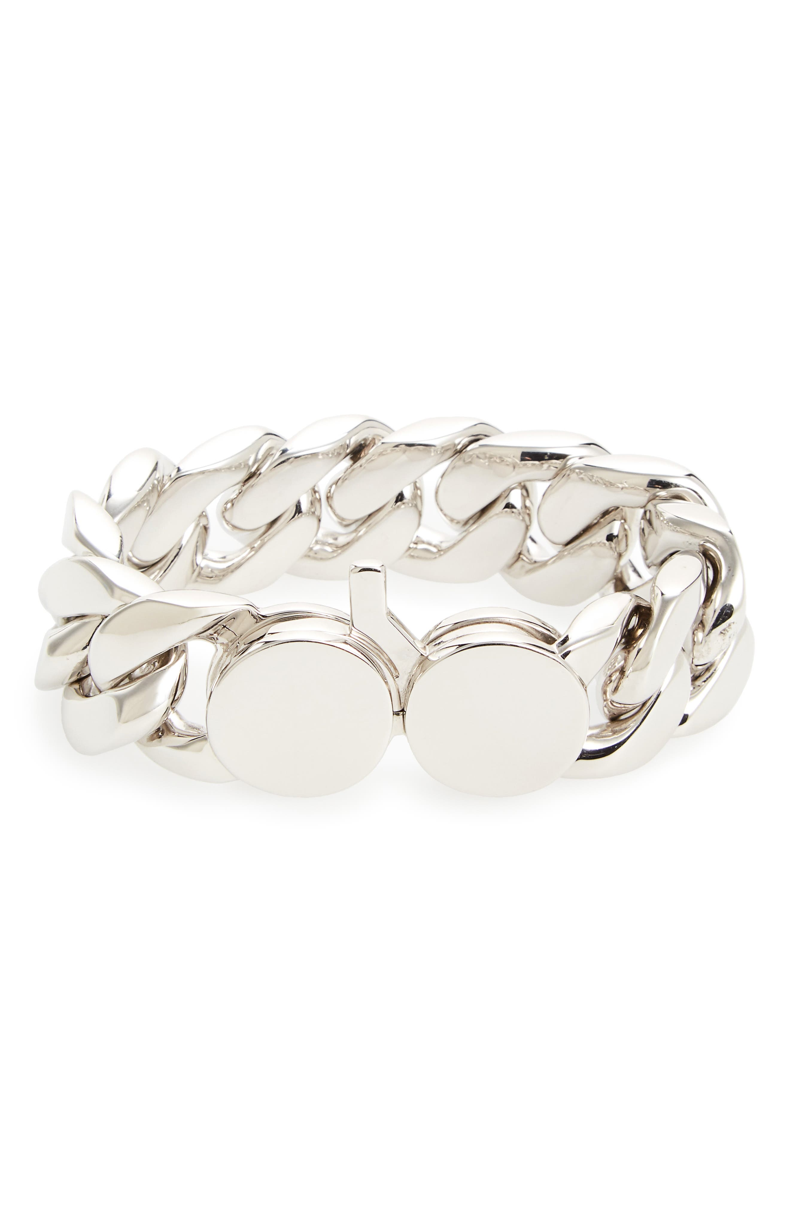 Medium Chunky Silver Chain Link Bracelet,                         Main,                         color, Silver