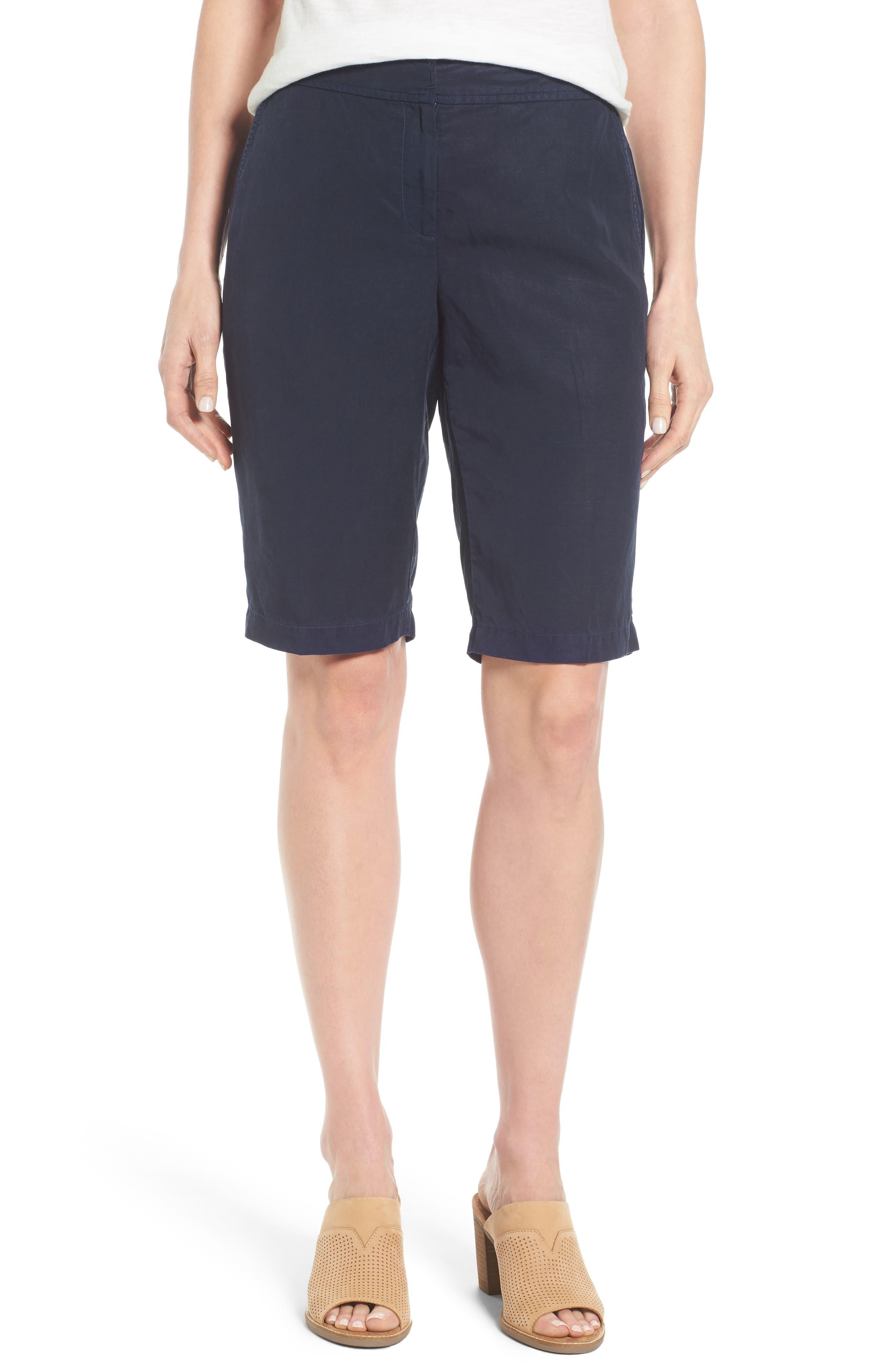Tencel<sup>®</sup> Lyocell & Linen Walking Shorts,                             Main thumbnail 1, color,                             Midnight