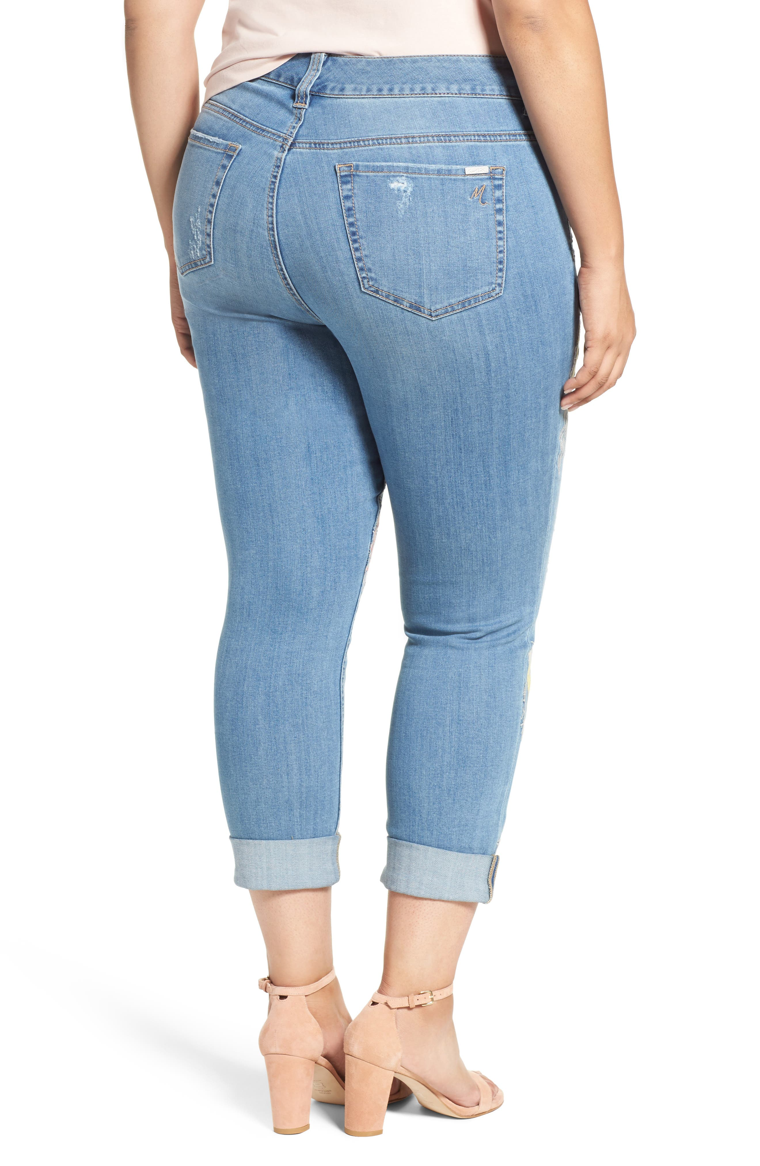 Alternate Image 2  - Melissa McCarthy Seven7 Embroidered Skinny Jeans (Plus Size)