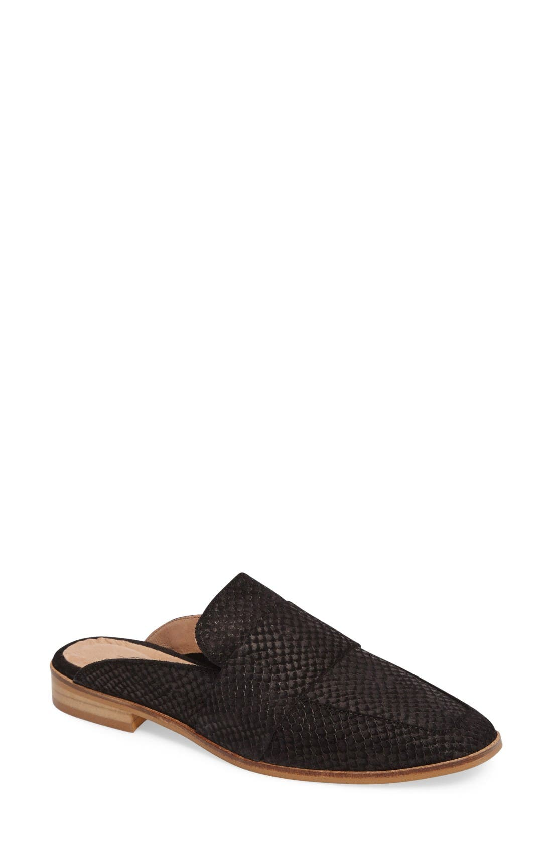 At Ease Loafer Mule,                         Main,                         color, Black Leather
