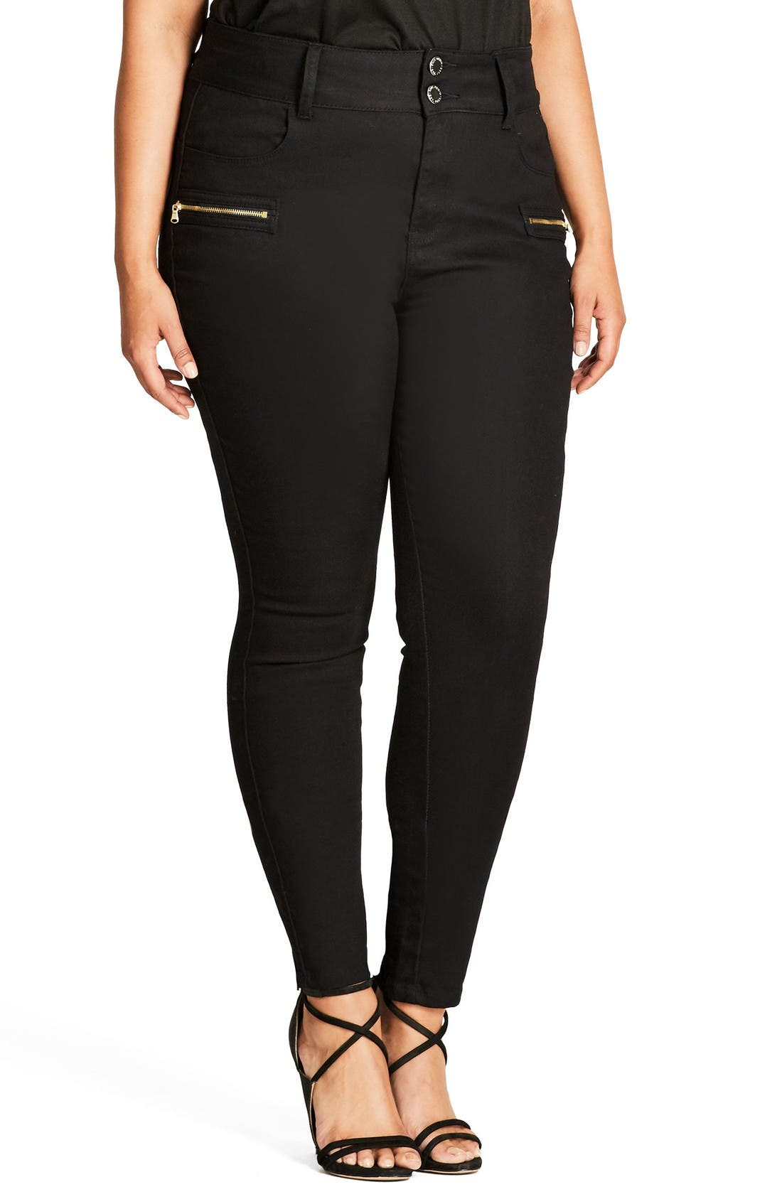 Alternate Image 1 Selected - City Chic Jet Apple Stretch Skinny Jeans (Plus Size)