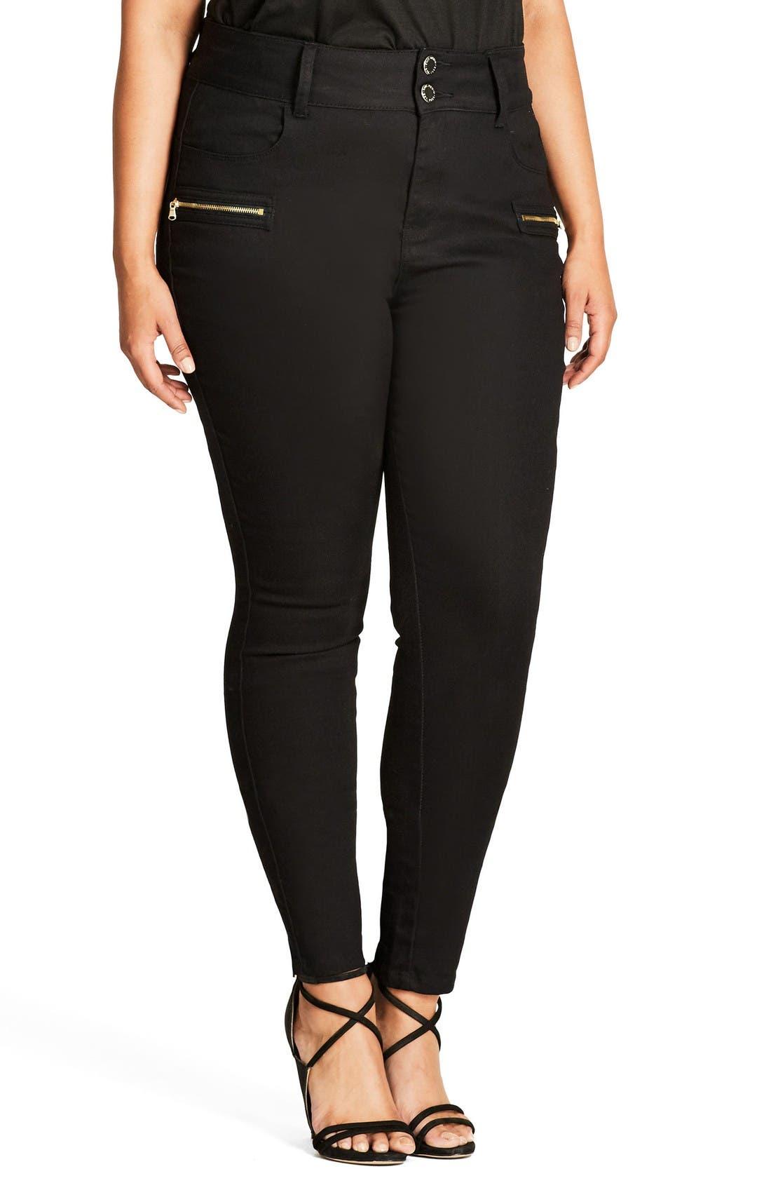 Jet Apple Stretch Skinny Jeans,                         Main,                         color, Black