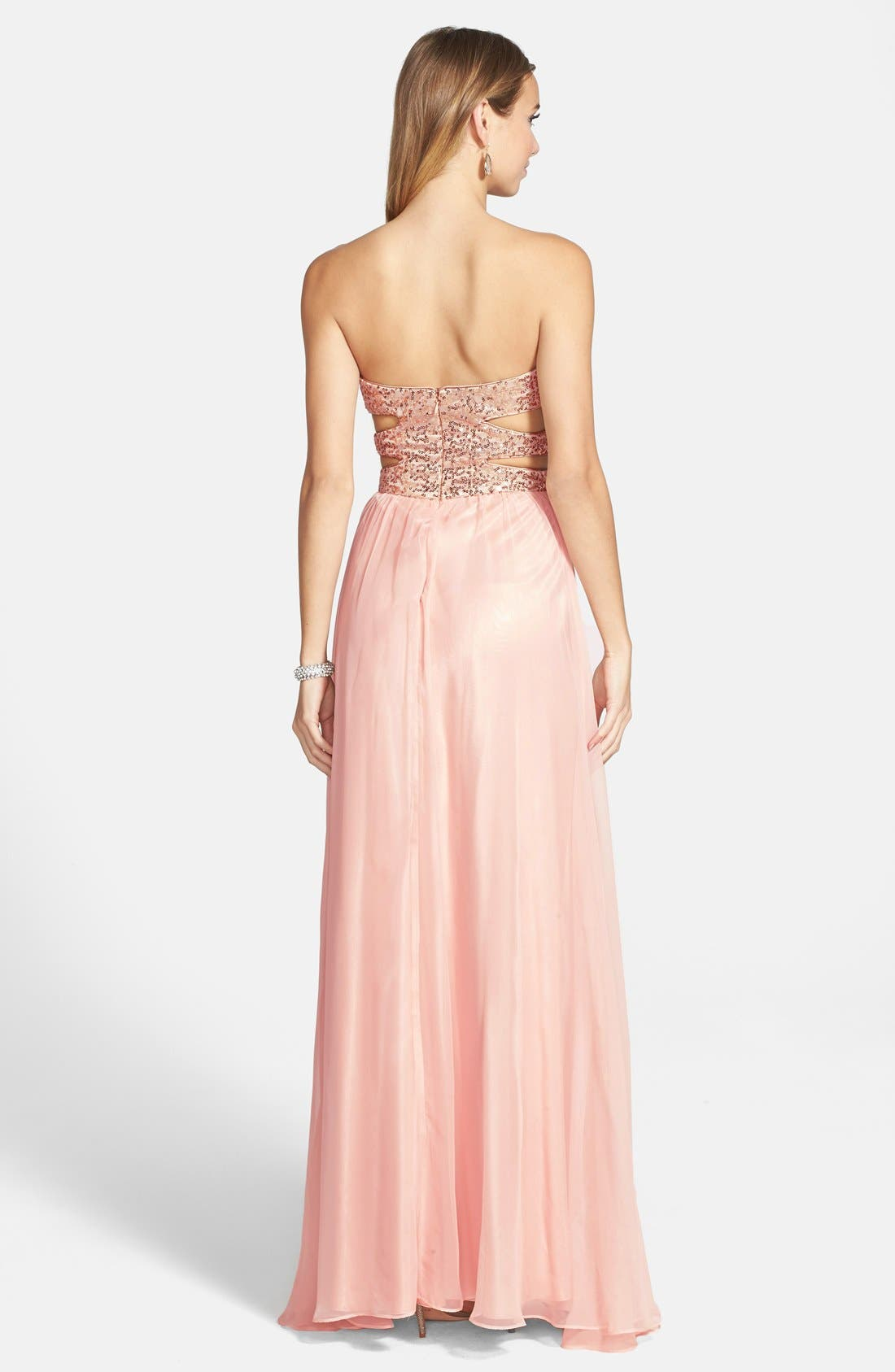Alternate Image 2  - Morgan & Co. Embellished Cutout Sweetheart Bodice Strapless Gown (Juniors)