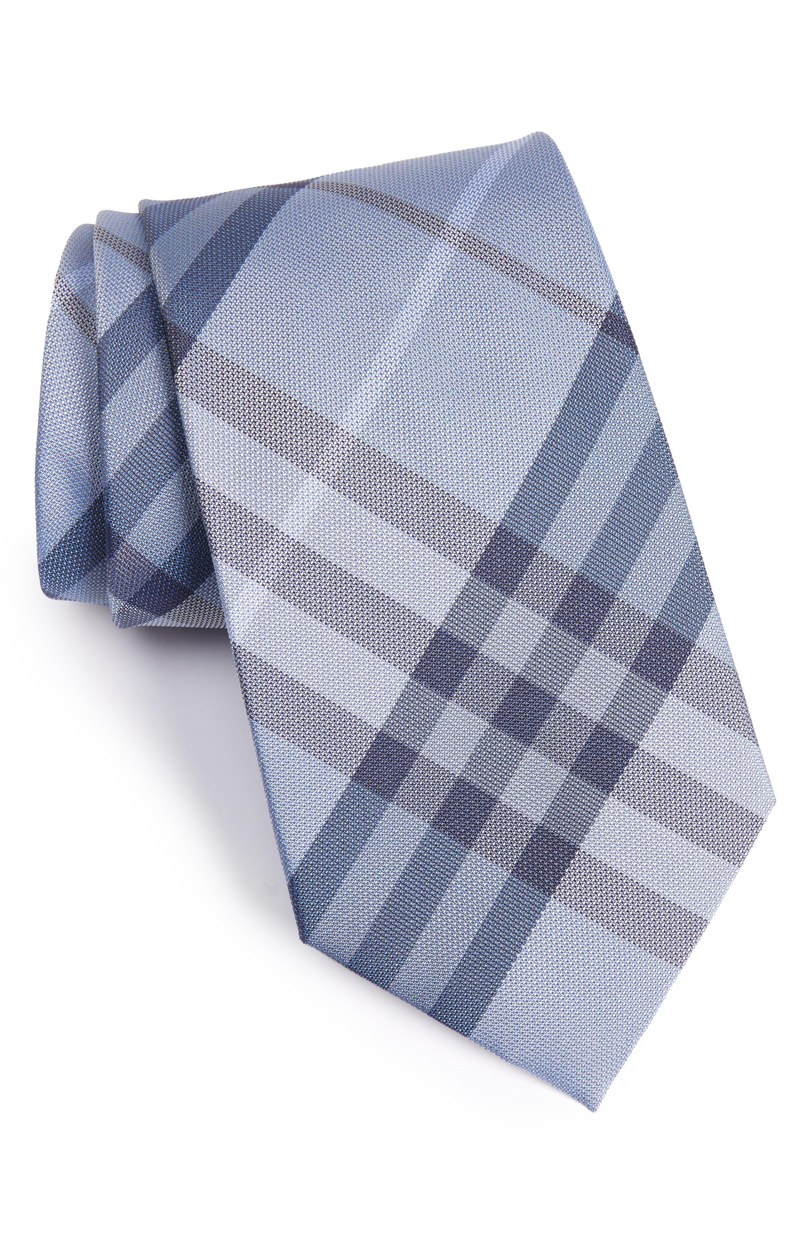 Clinton Check Silk Tie,                         Main,                         color, Brilliant Blue