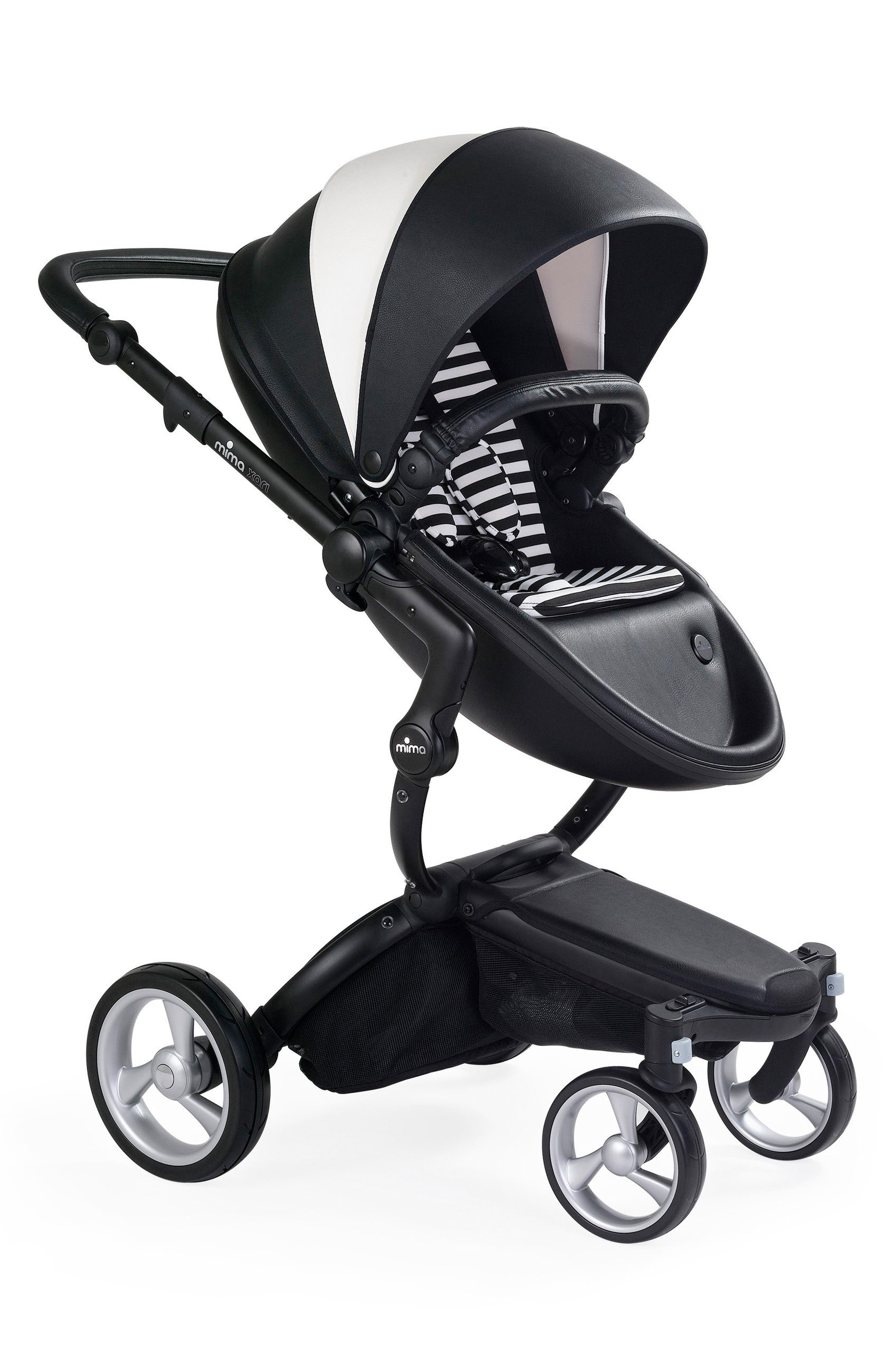 Xari Black Chassis Stroller with Reversible Reclining Seat & Carrycot,                         Main,                         color, Black White / Black White