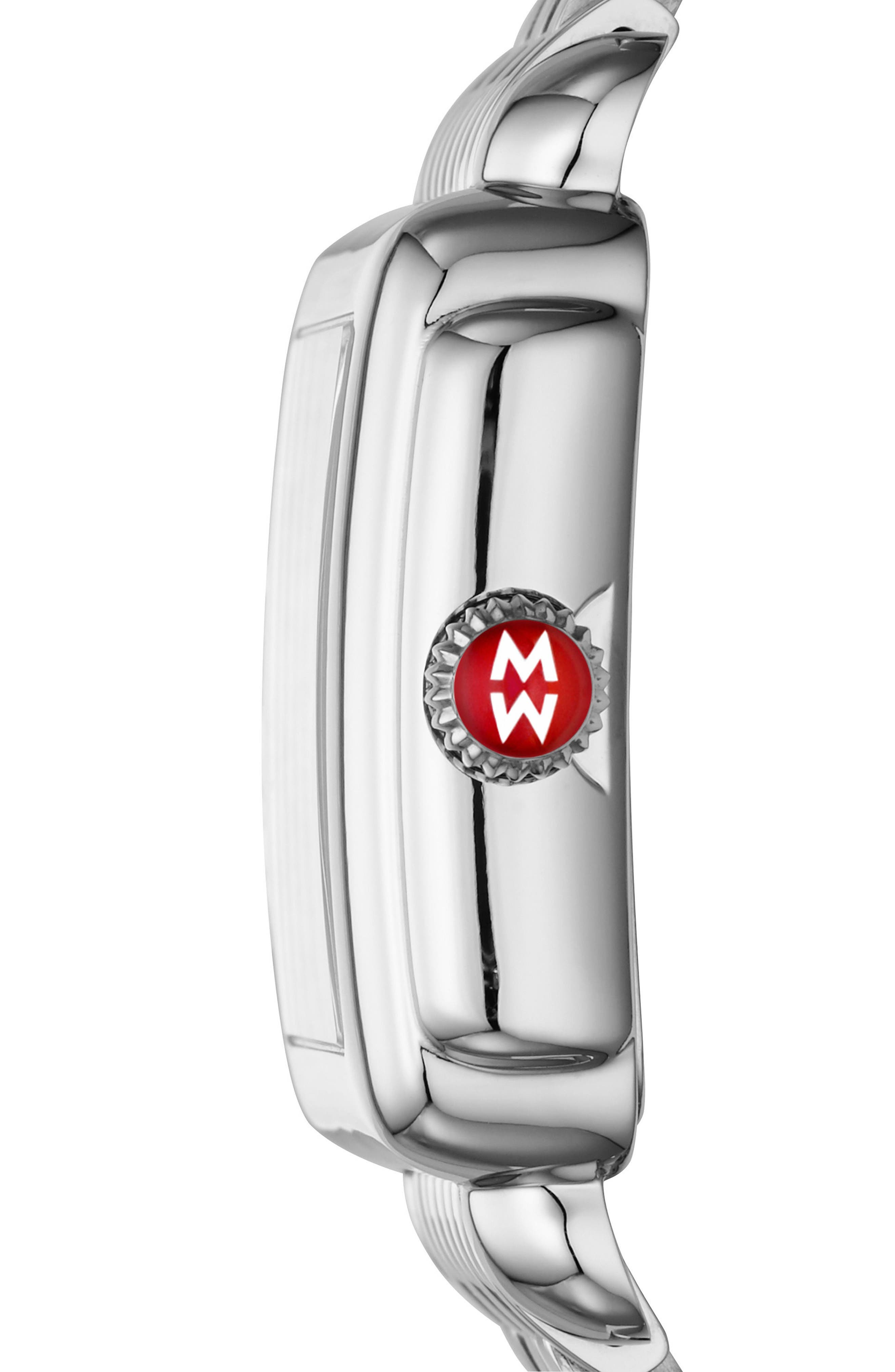 Deco Madison Diamond Dial Watch Case, 33mm x 35mm,                             Alternate thumbnail 3, color,                             Silver