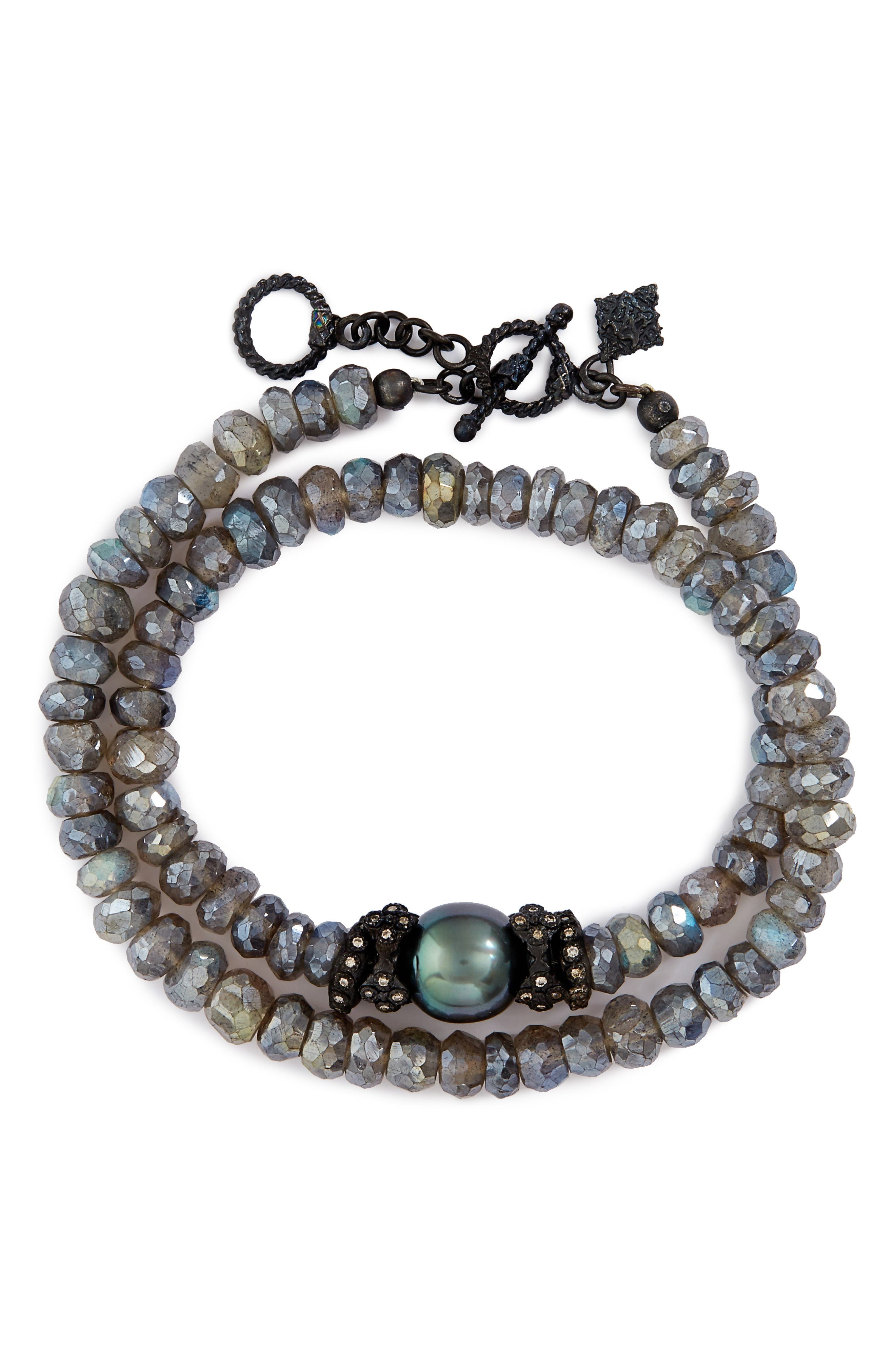 Old World Mystic Double Wrap Bracelet,                             Main thumbnail 1, color,                             Labradorite/ Black