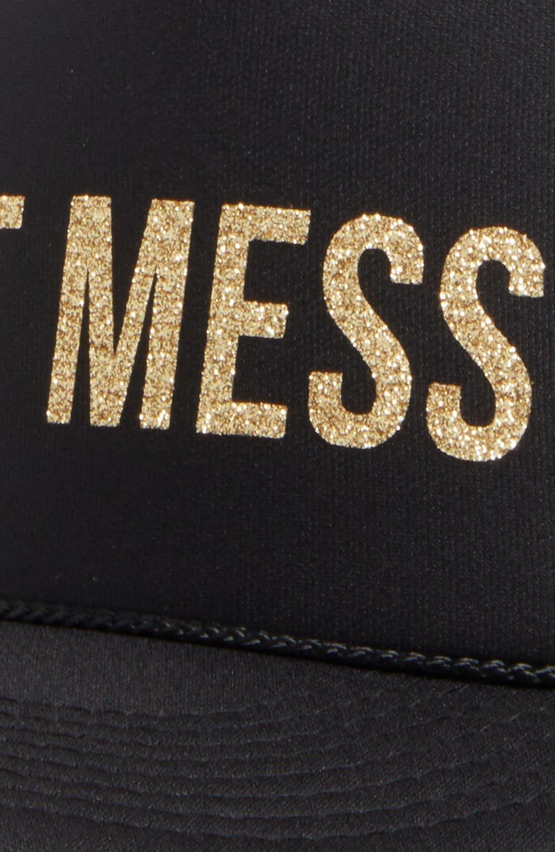 Hot Mess Trucker Hat,                             Alternate thumbnail 3, color,                             Black