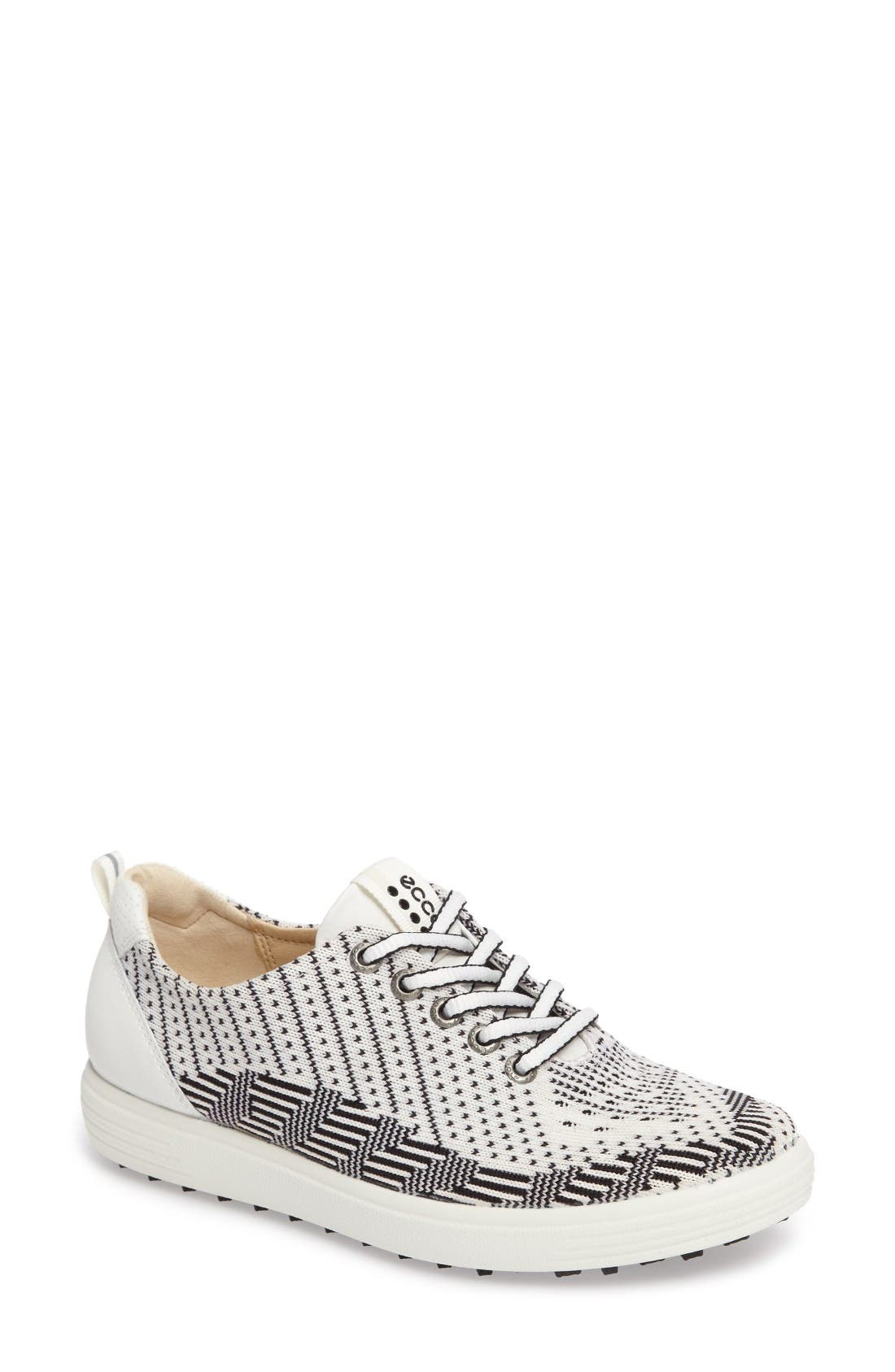 Casual Hybrid Knit Golf Sneaker,                         Main,                         color, White/ Black/ White Leather