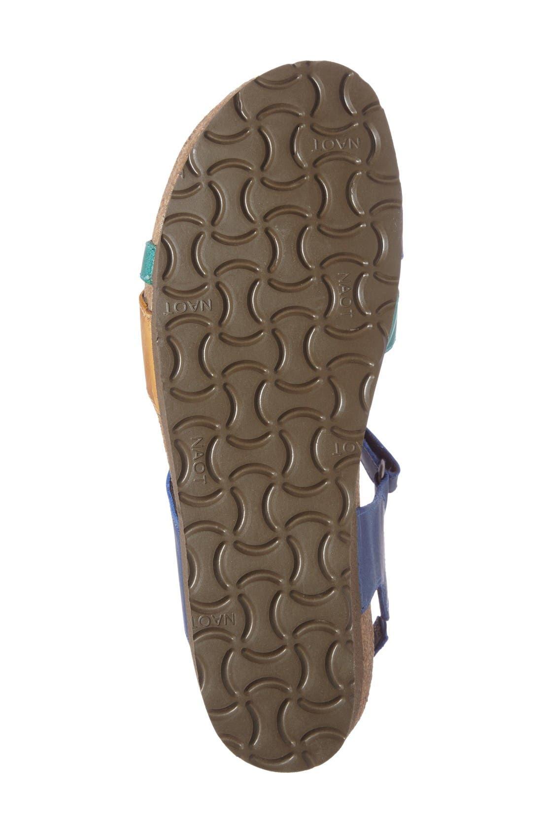 'Sophia' Sandal,                             Alternate thumbnail 4, color,                             Blue/ Brown Nubuck Leather
