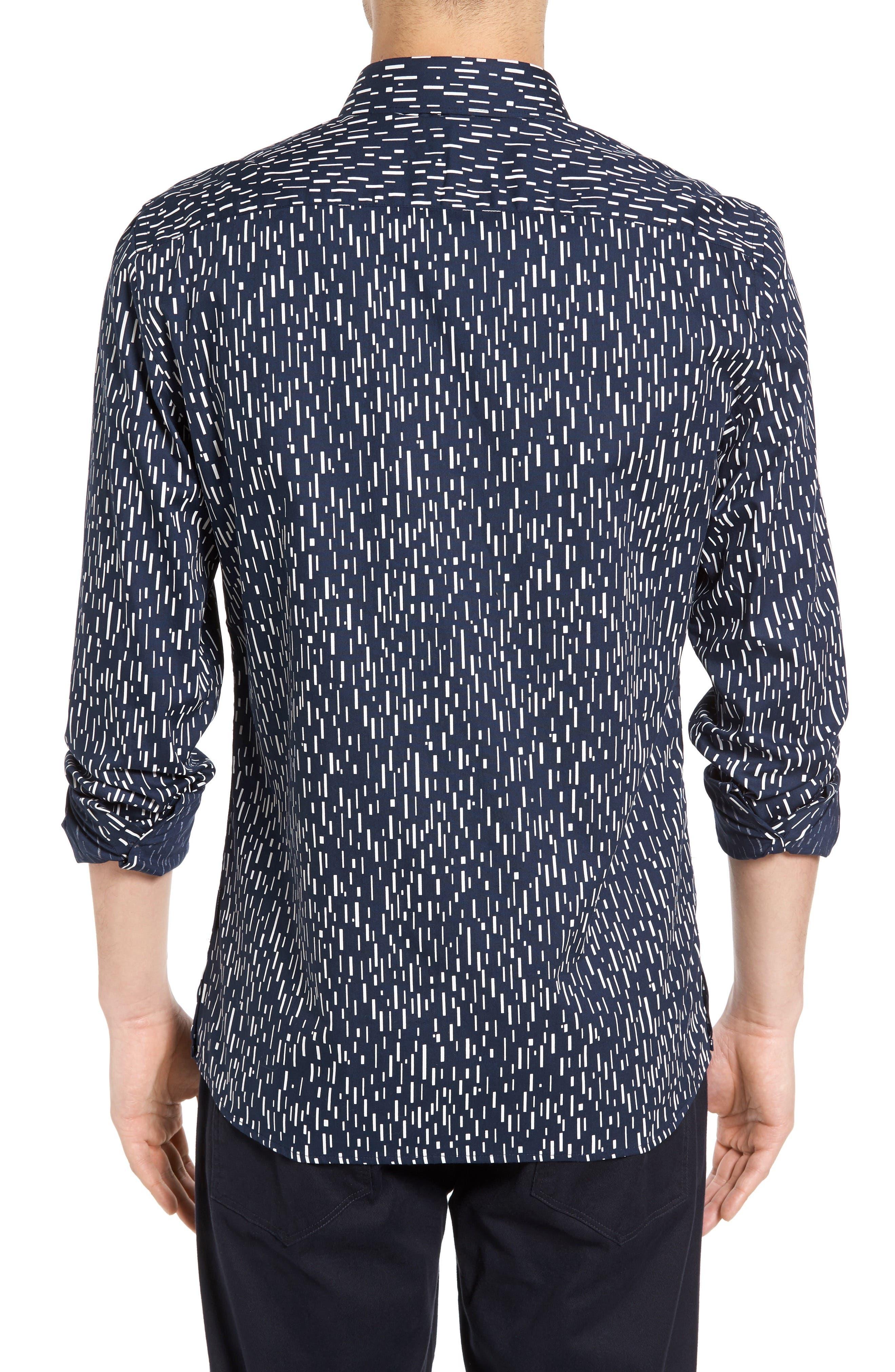 Rain Dash Slim Fit Oxford Shirt,                             Alternate thumbnail 2, color,                             Marine Blue/ White