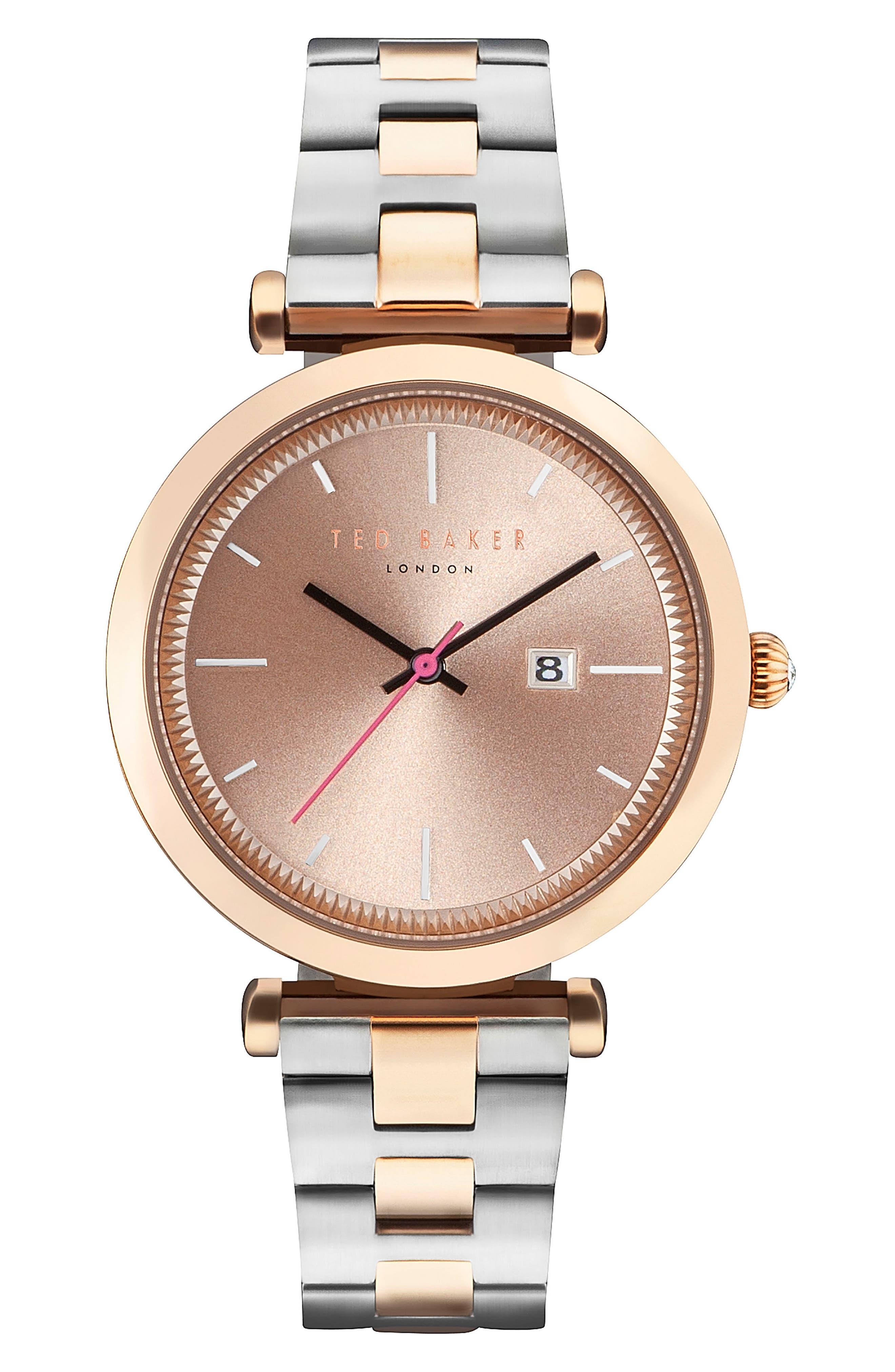 Ava Bracelet Watch, 36mm,                             Main thumbnail 1, color,                             Silver/ Rose Gold