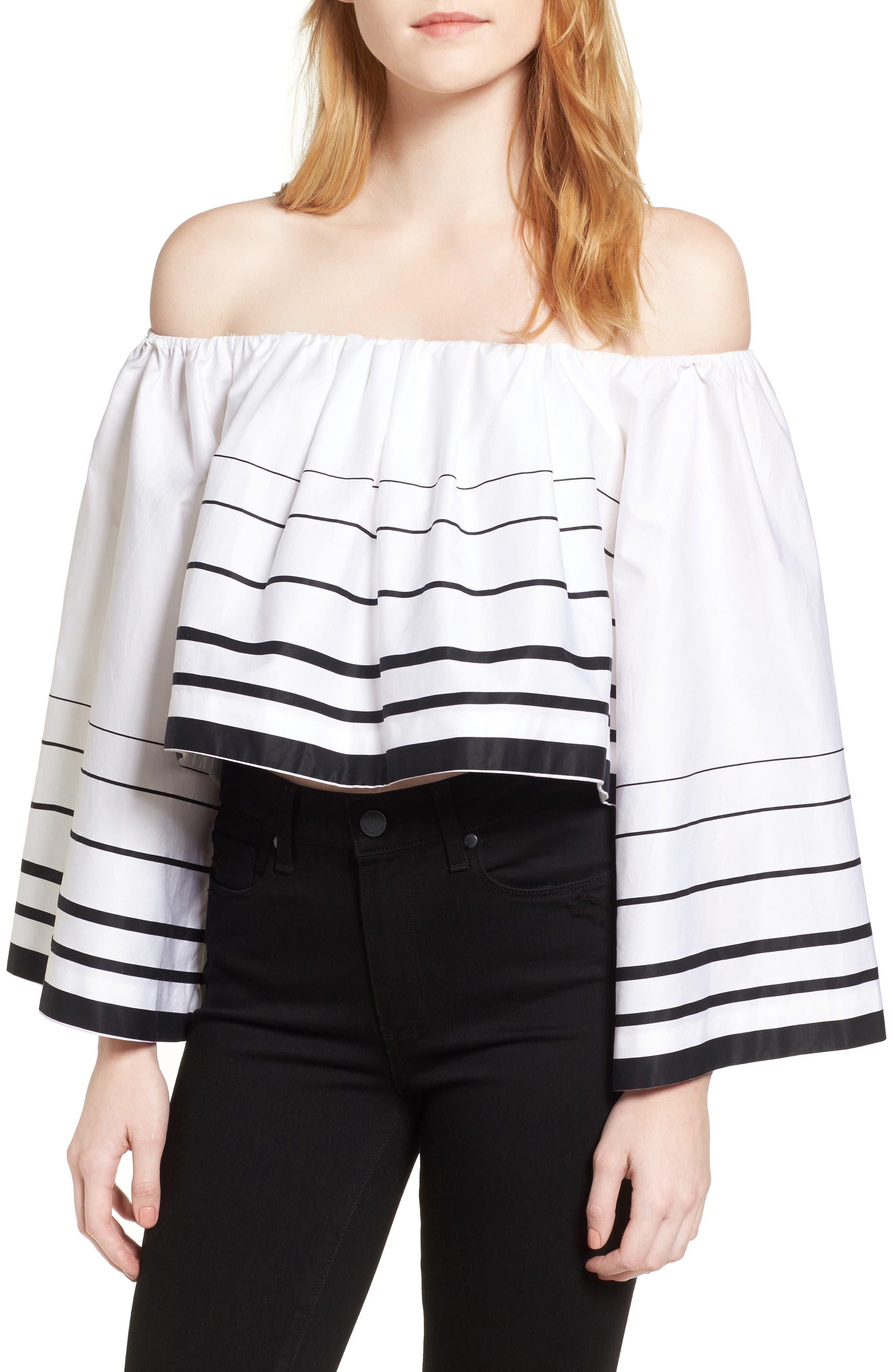 Stripe Off the Shoulder Top,                         Main,                         color, White/ Black