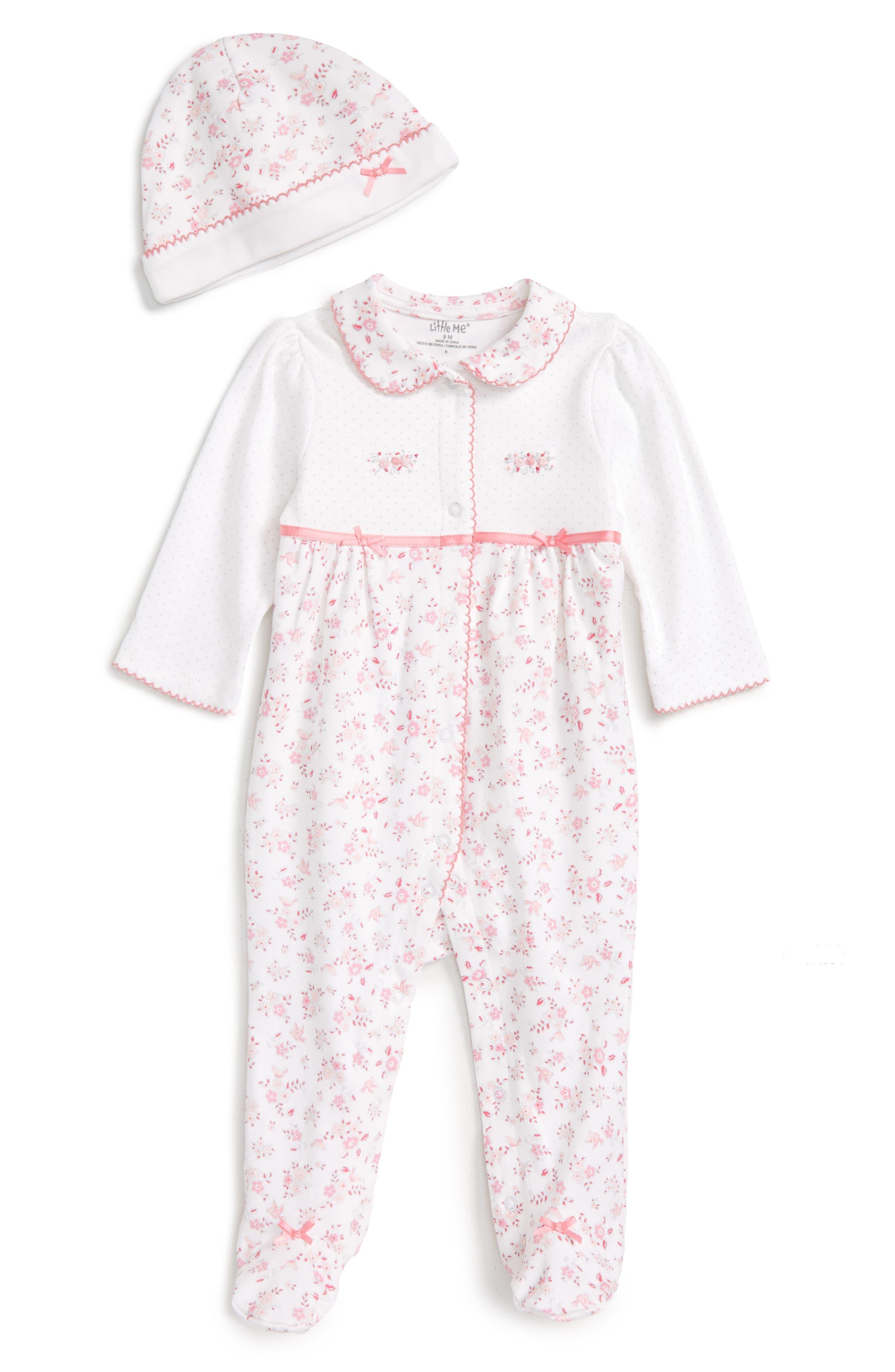 Main Image - Little Me Bird Floral Footie & Hat Set (Baby Girls)