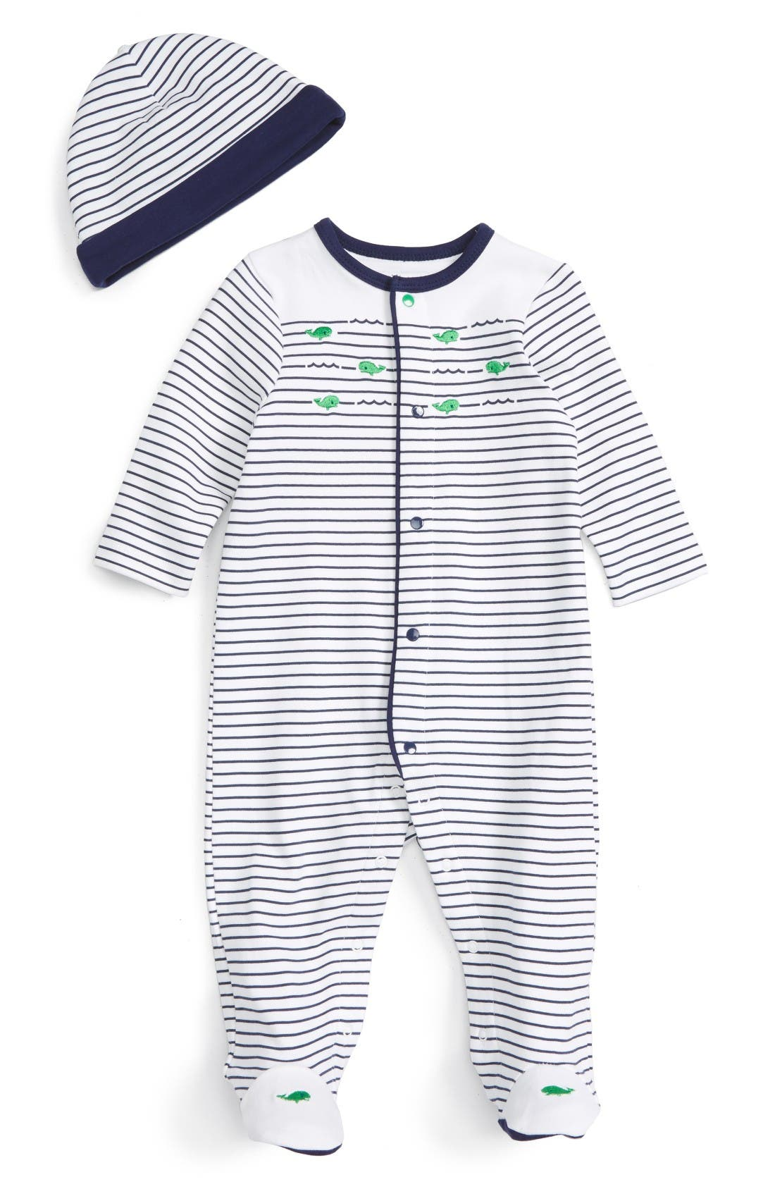 Whale Stripe Footie & Beanie Set,                             Main thumbnail 1, color,                             Navy Stripe