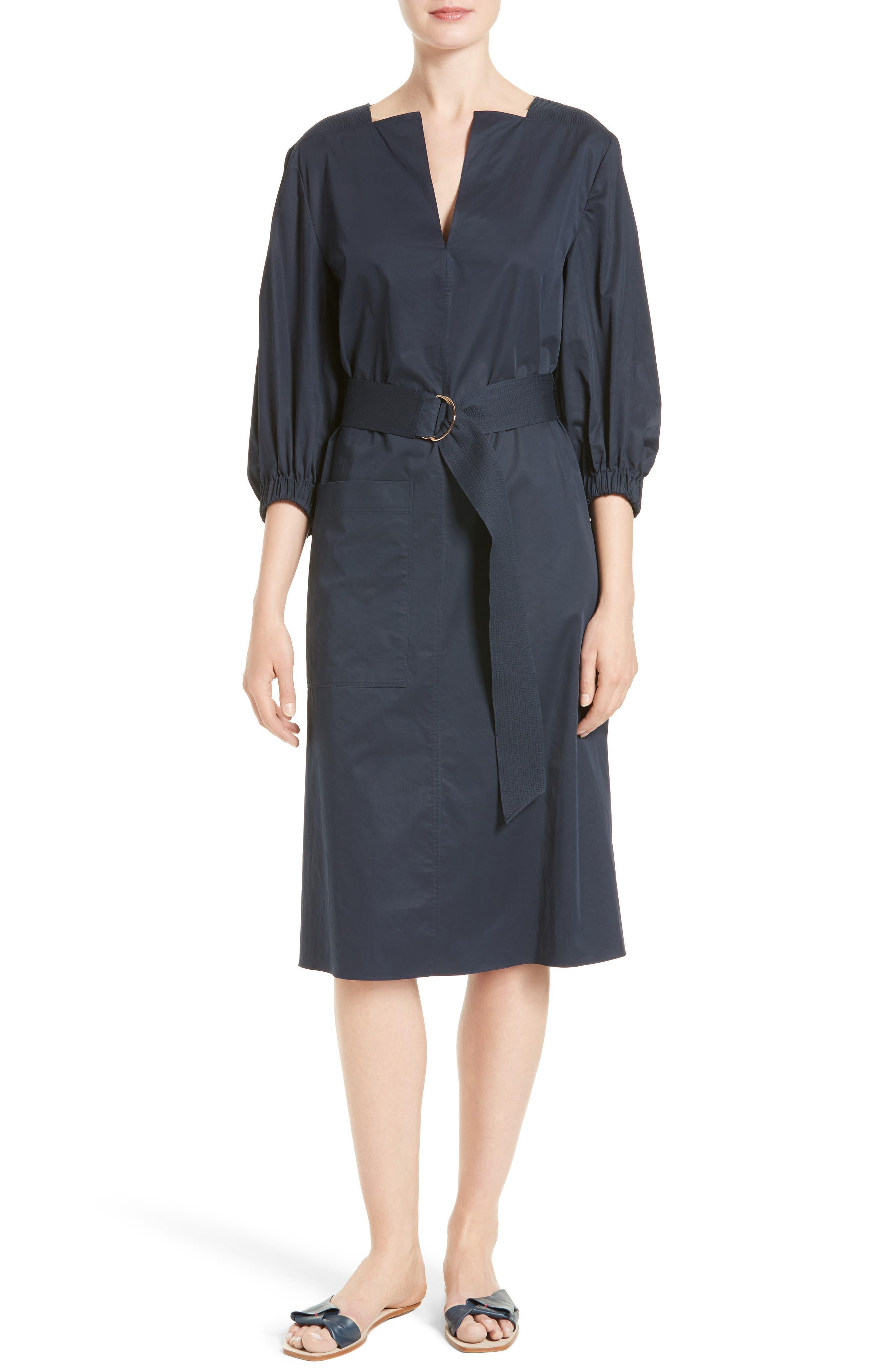 Main Image - Tibi Satin Poplin Belted Split Neck Dress