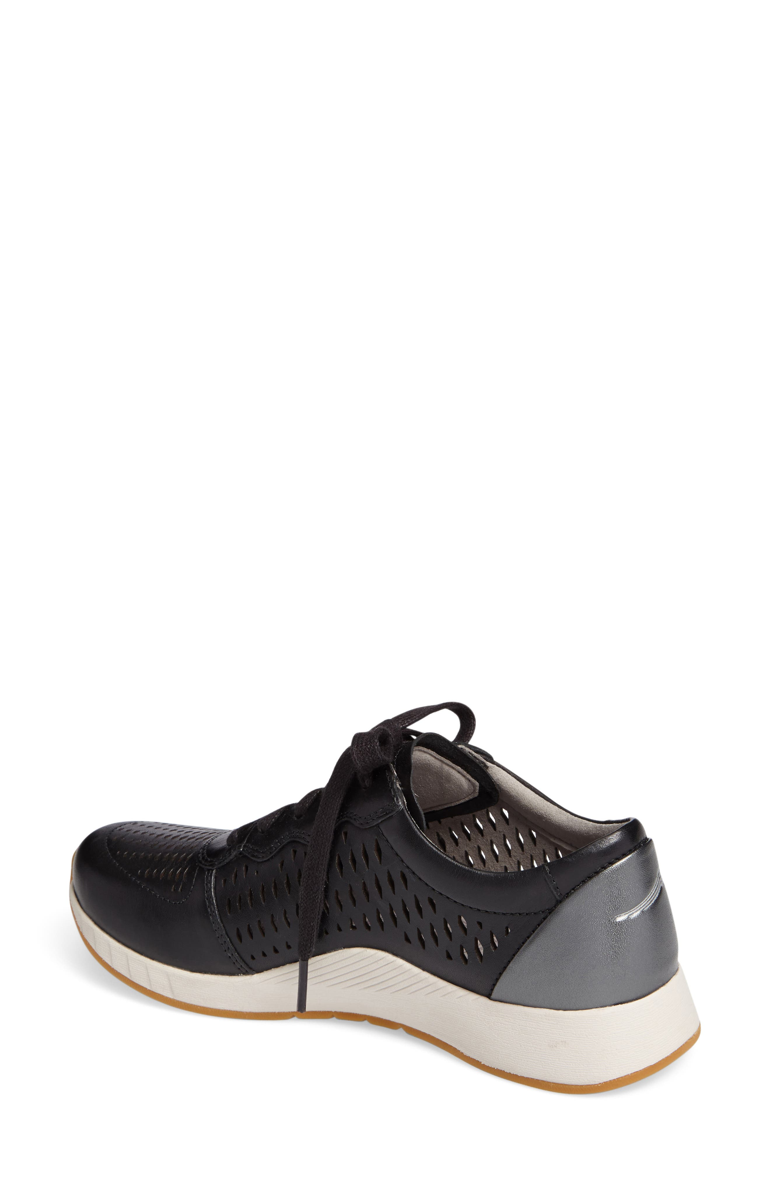 Charlie Perforated Sneaker,                             Alternate thumbnail 2, color,                             Black Leather