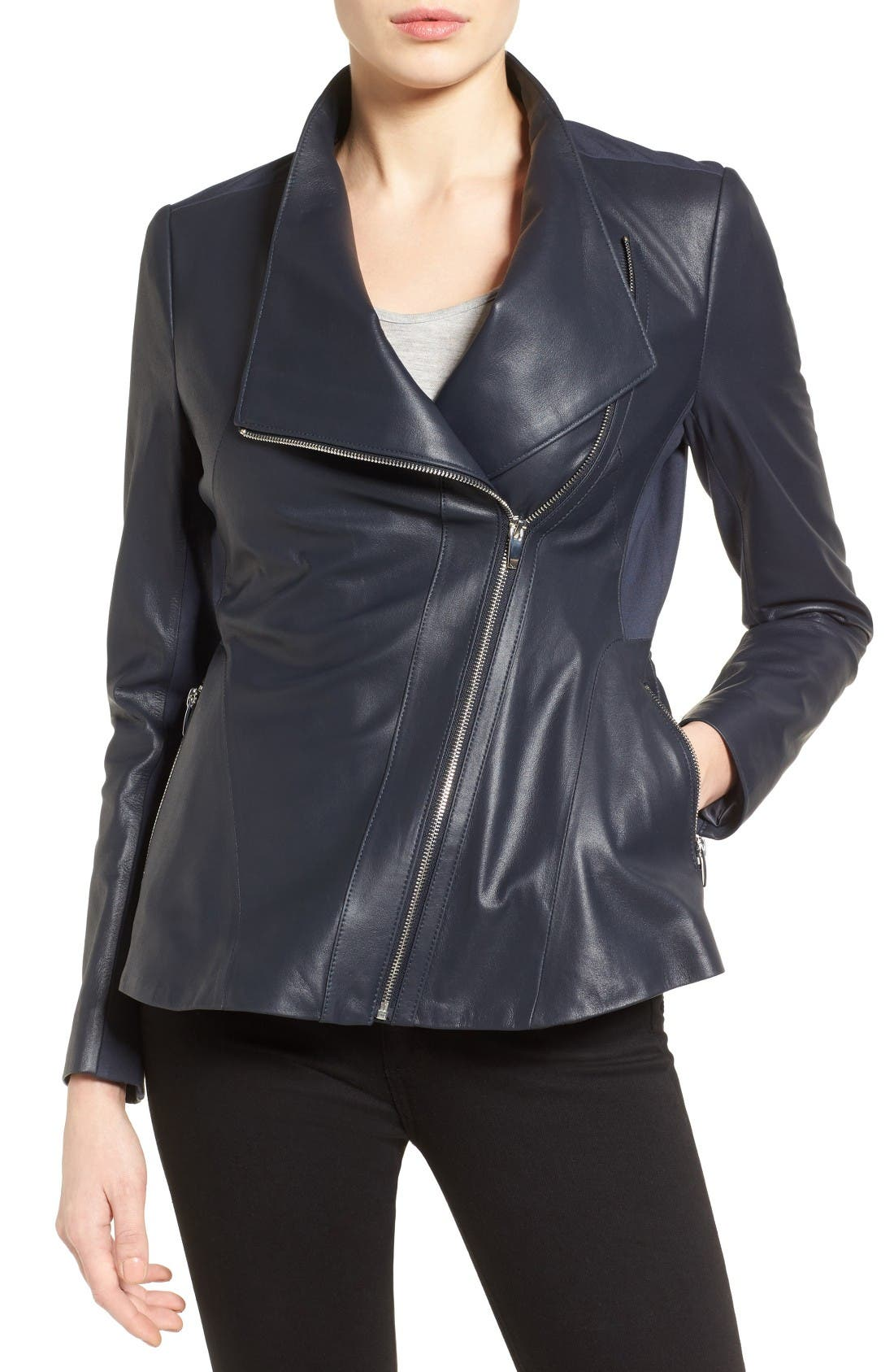 Asymmetrical Zip Leather & Ponte Jacket,                         Main,                         color, Navy