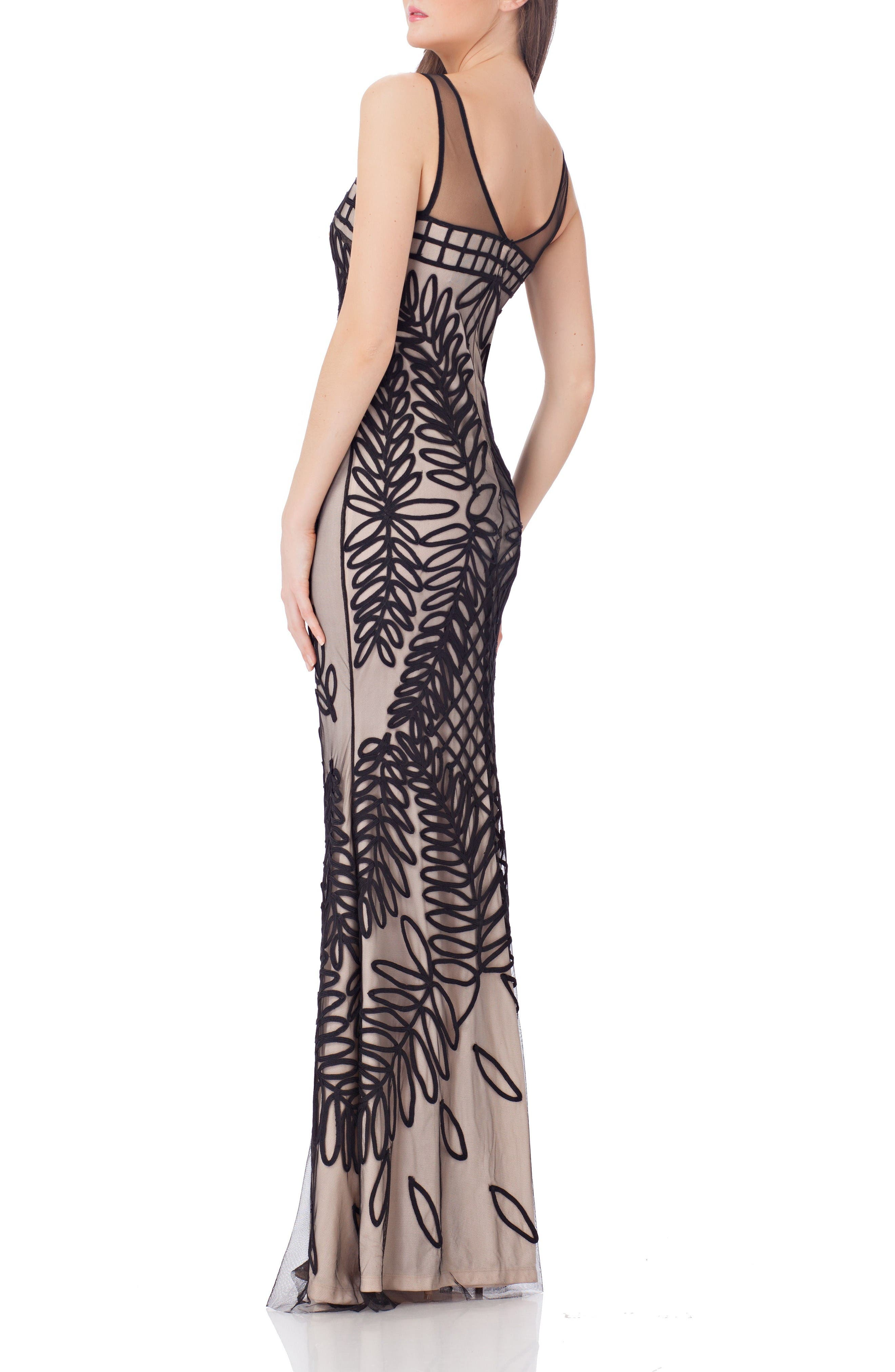 Alternate Image 2  - JS Collections Mesh Mermaid Gown