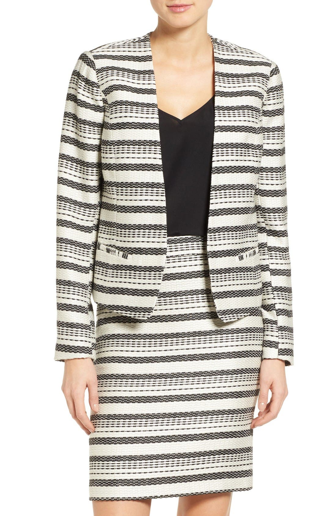 Open Front Jacket,                         Main,                         color, Ivory- Black Tweed