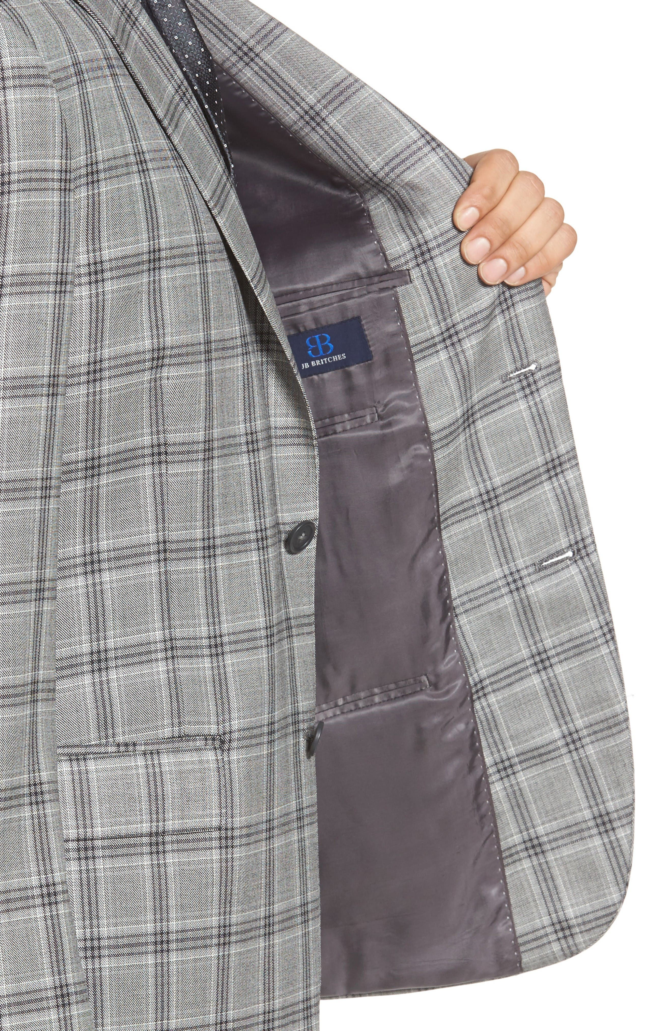 Classic Fit Plaid Wool Sport Coat,                             Alternate thumbnail 4, color,                             Light Grey