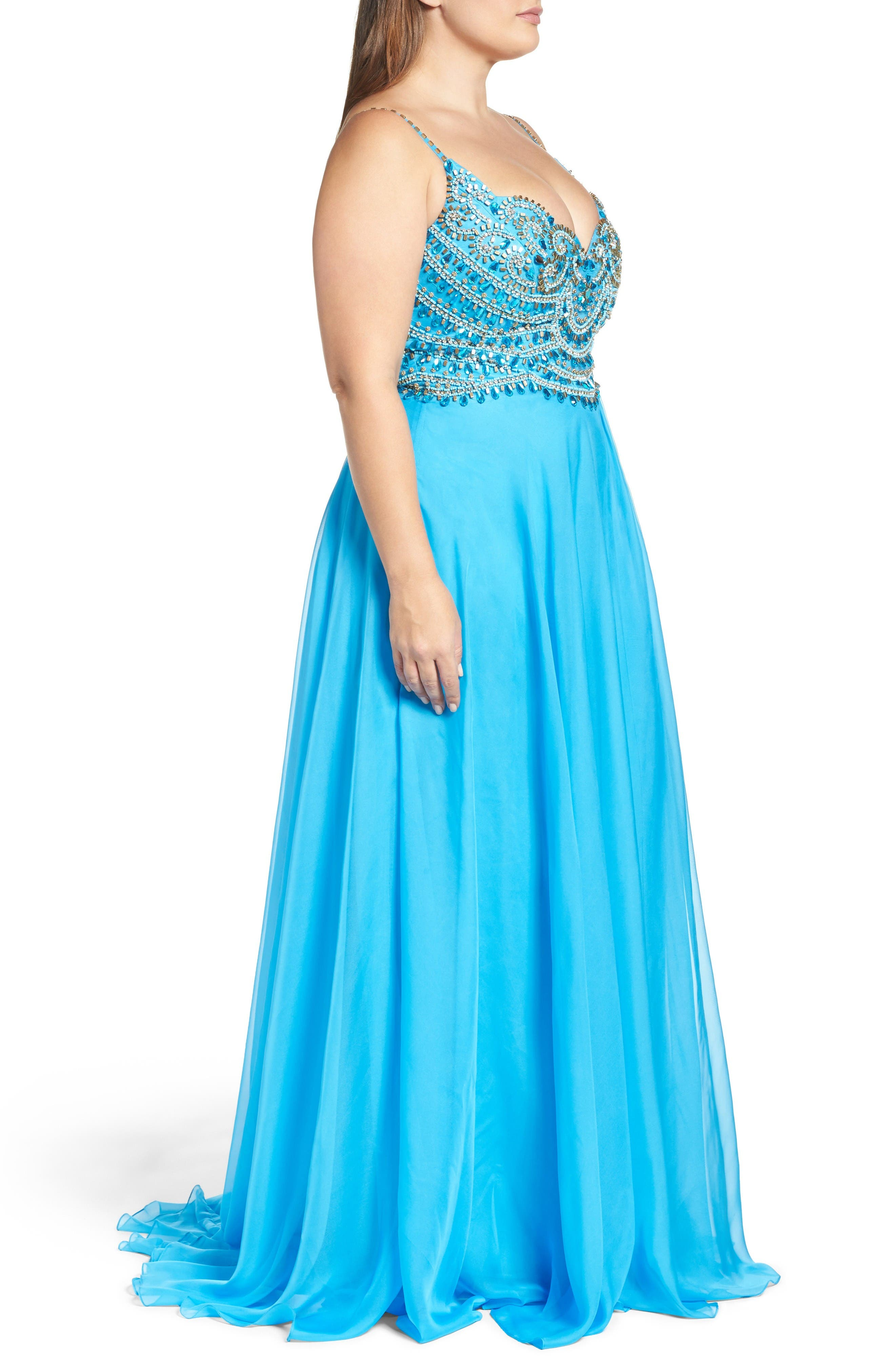 Embellished Gown,                             Alternate thumbnail 3, color,                             Ocean Blue