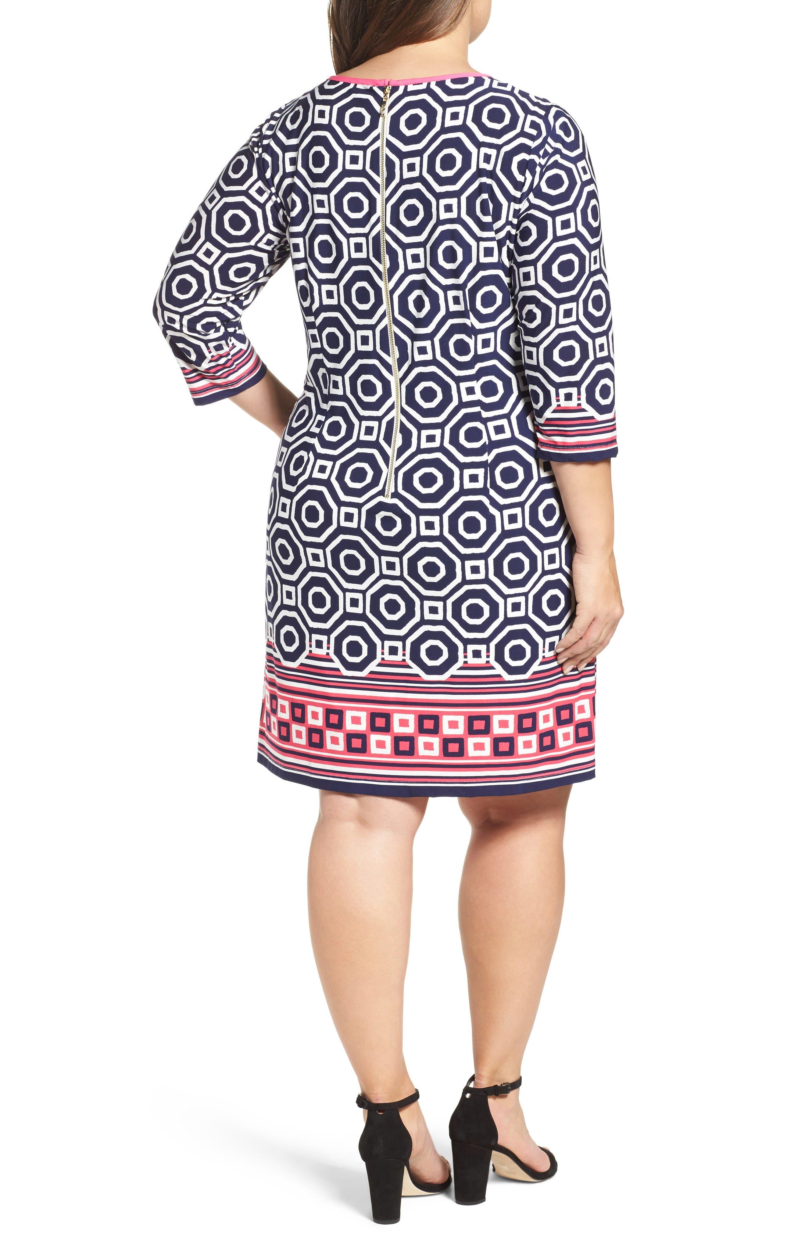 Alternate Image 2  - Eliza J Border Print Shift Dress (Plus Size)