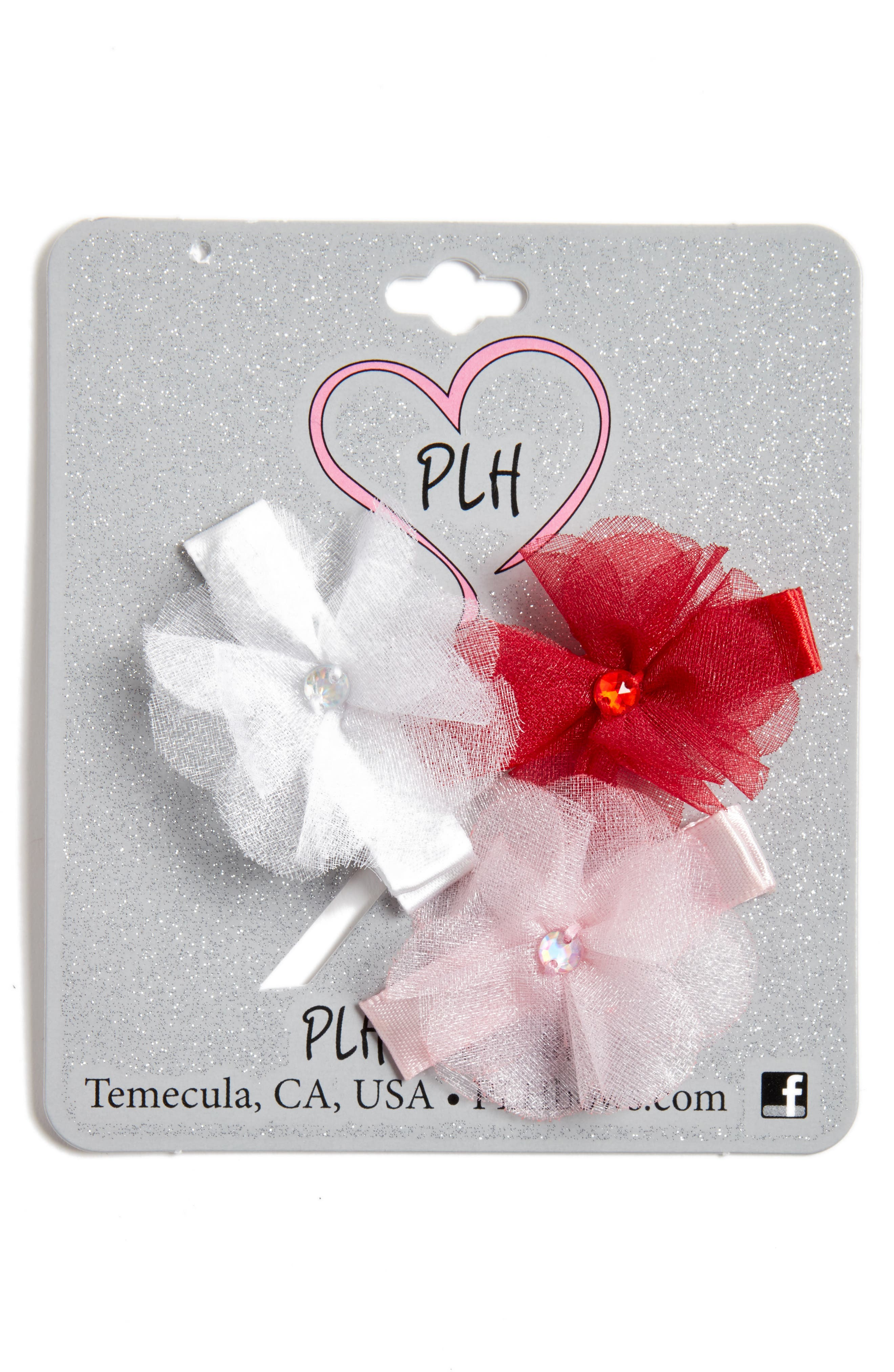 Main Image - PLH Bows & Laces Set of 3 Hair Clips (Baby Girls)
