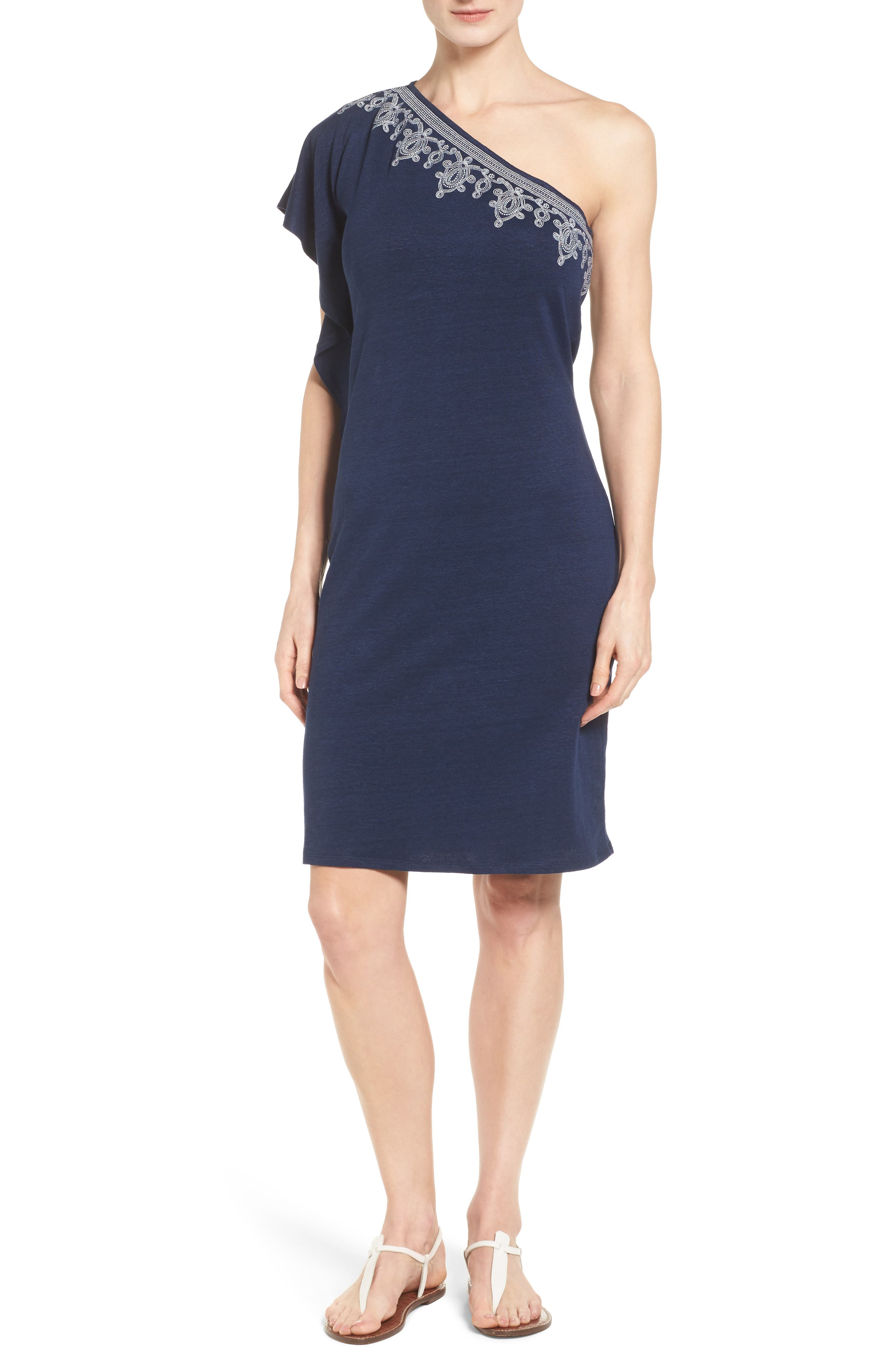 Lovelin One-Shoulder Dress,                         Main,                         color, Ocean Deep