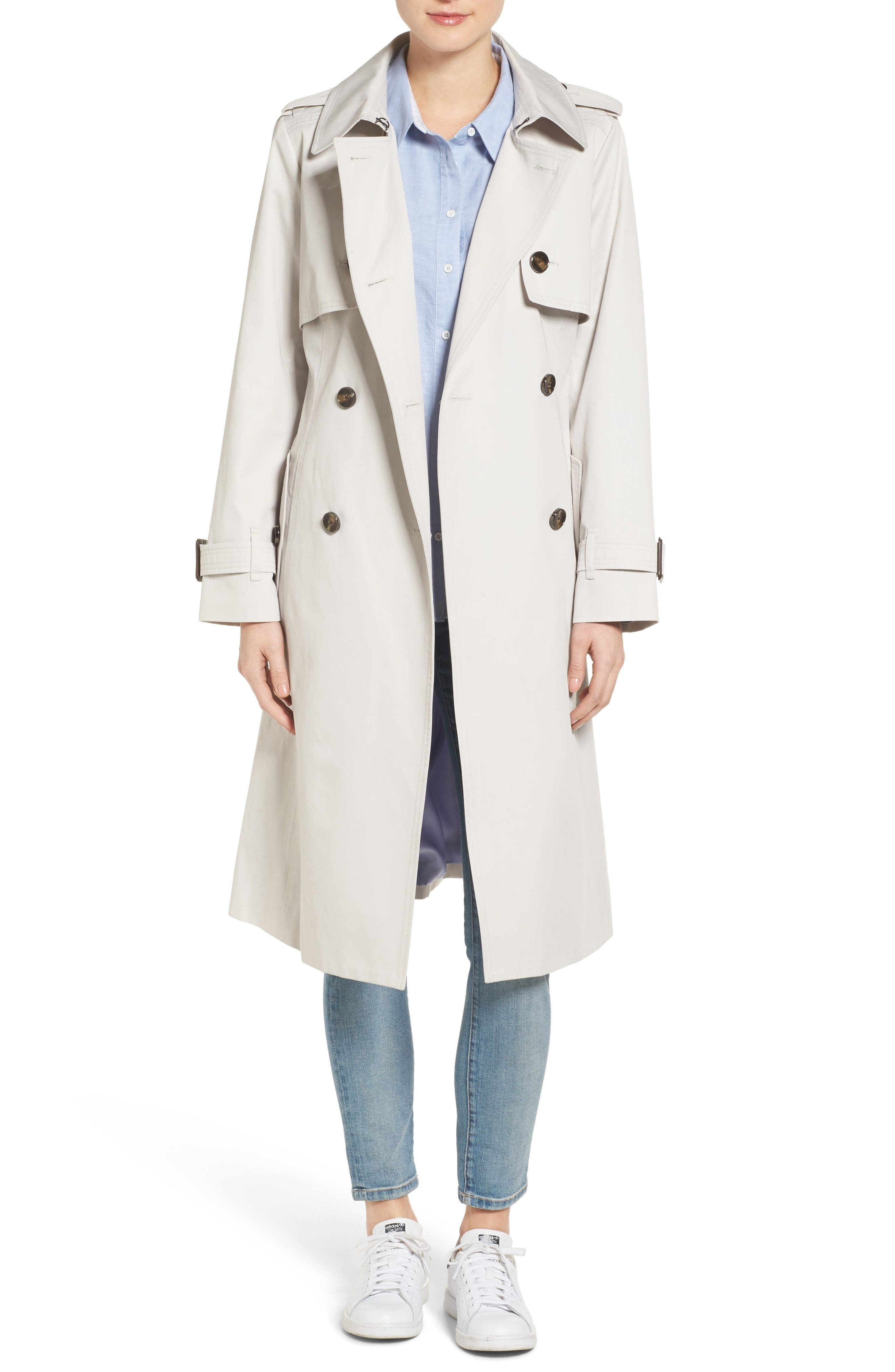 Double Breasted Trench Coat,                         Main,                         color, Pebble