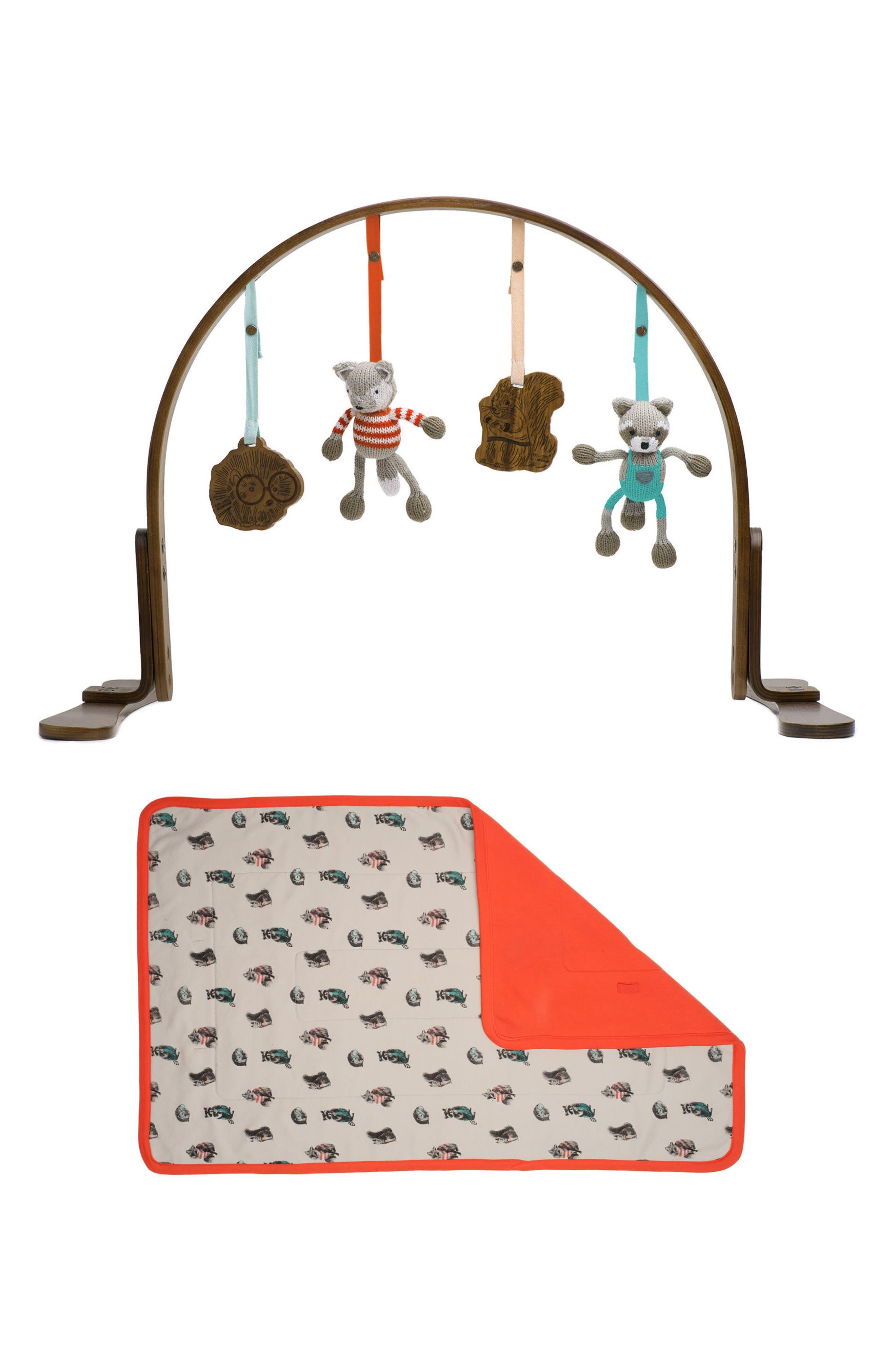 Wooden Play Gym & Woodland Mat,                             Main thumbnail 1, color,                             Dark Wood
