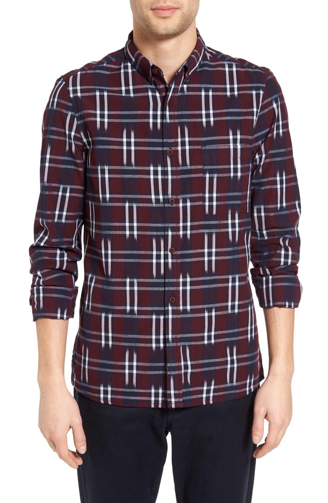 Slim Fit Ikat Check Sport Shirt,                         Main,                         color, Bordeaux
