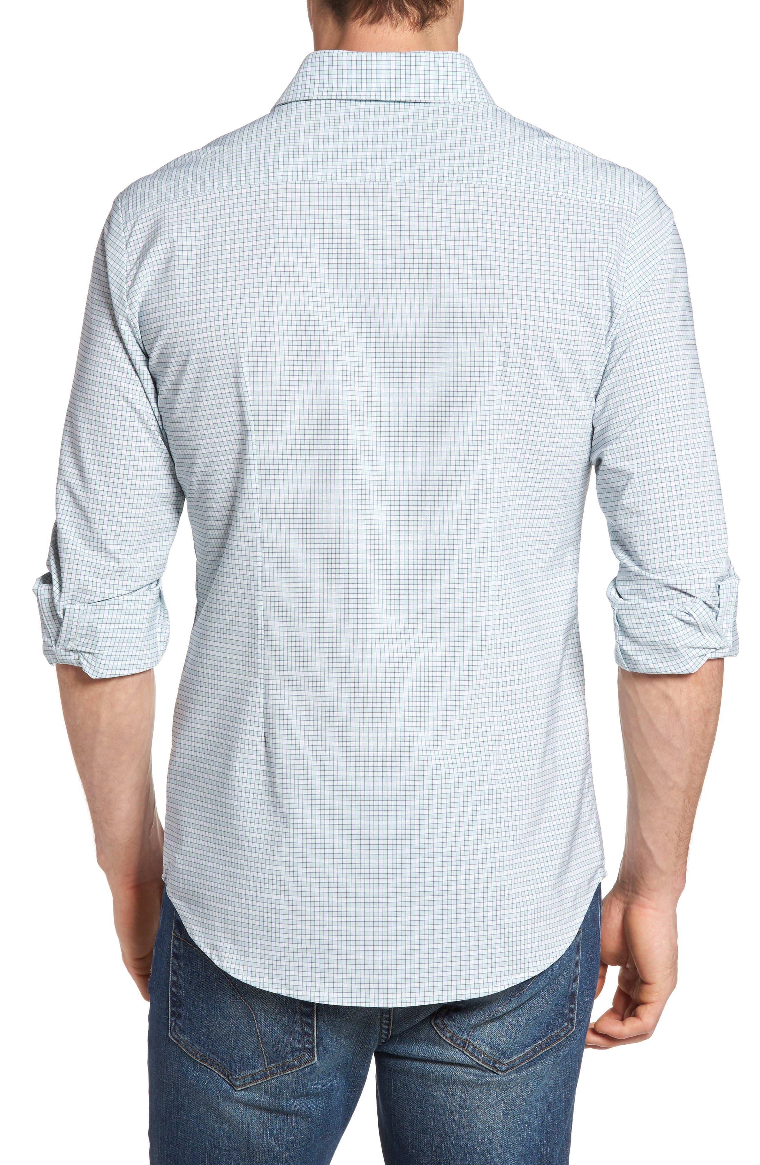 Thames Illusion Gingham Performance Sport Shirt,                             Alternate thumbnail 2, color,                             Aqua