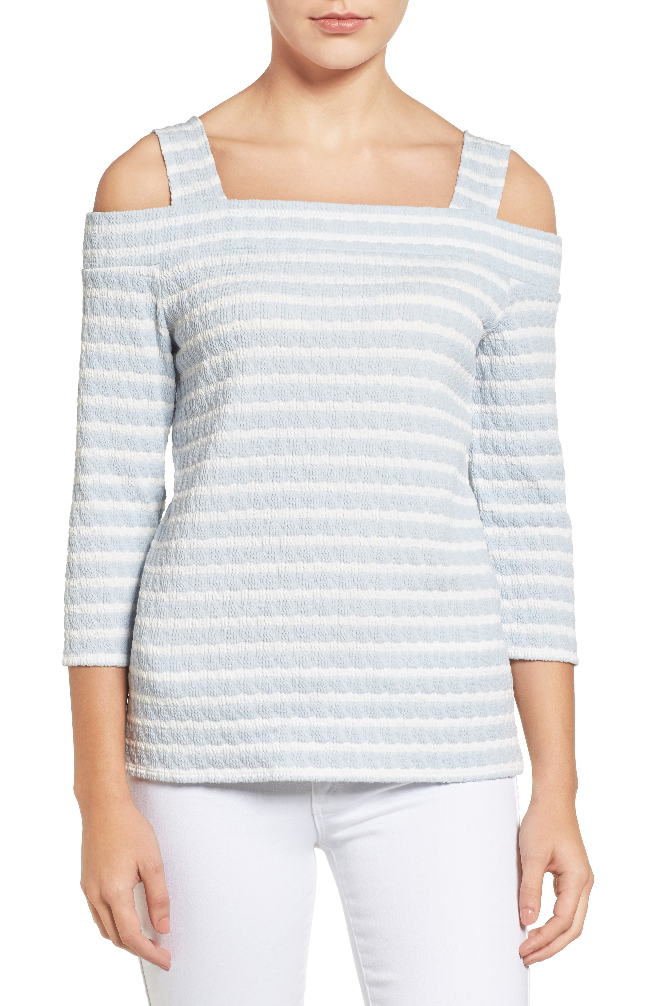 Alternate Image 1 Selected - KUT from the Kloth Fridi Texture Stripe Cold Shoulder Top