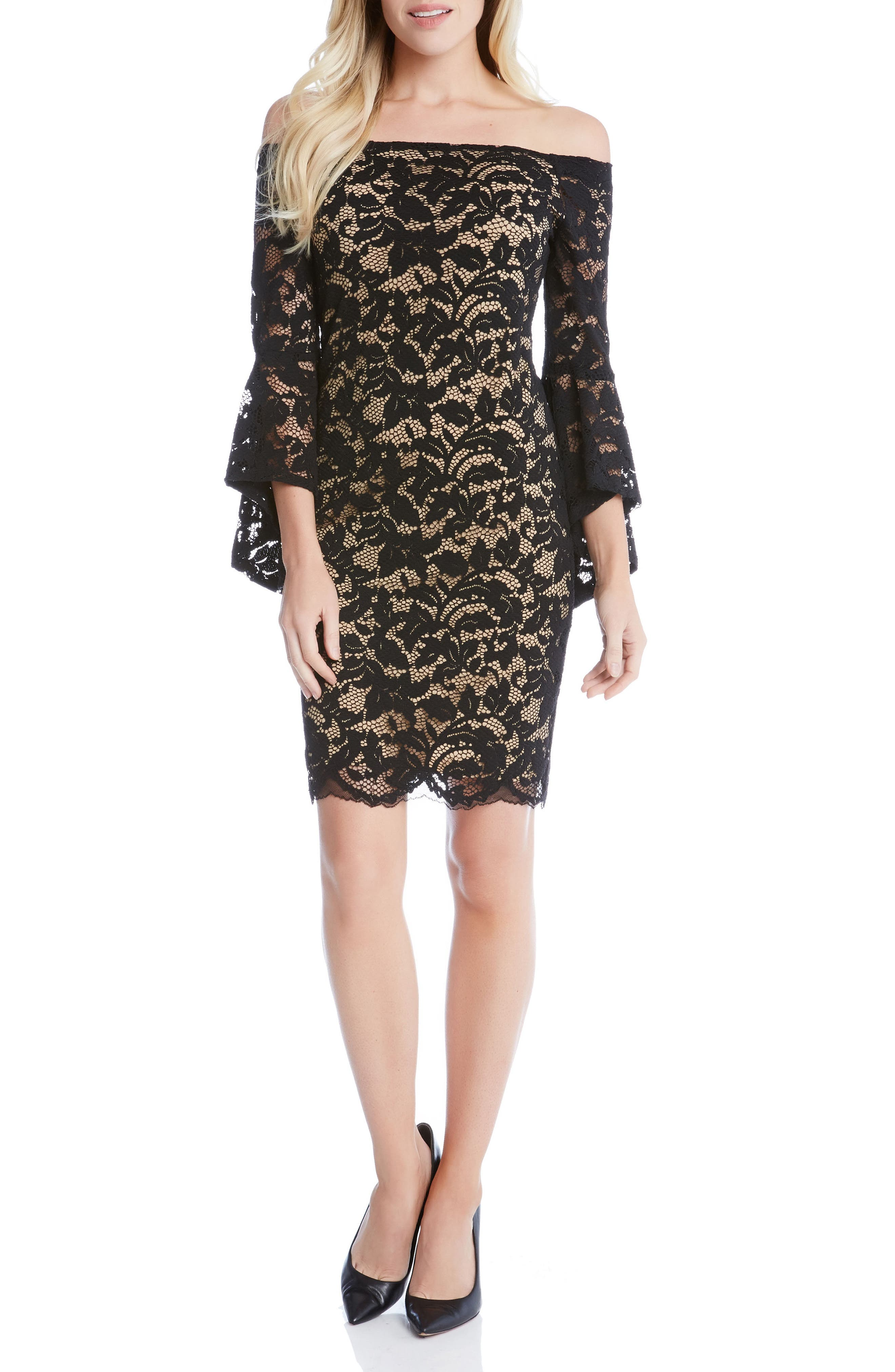 Samantha Lace Off the Shoulder Sheath Dress,                         Main,                         color, Black/ Nude